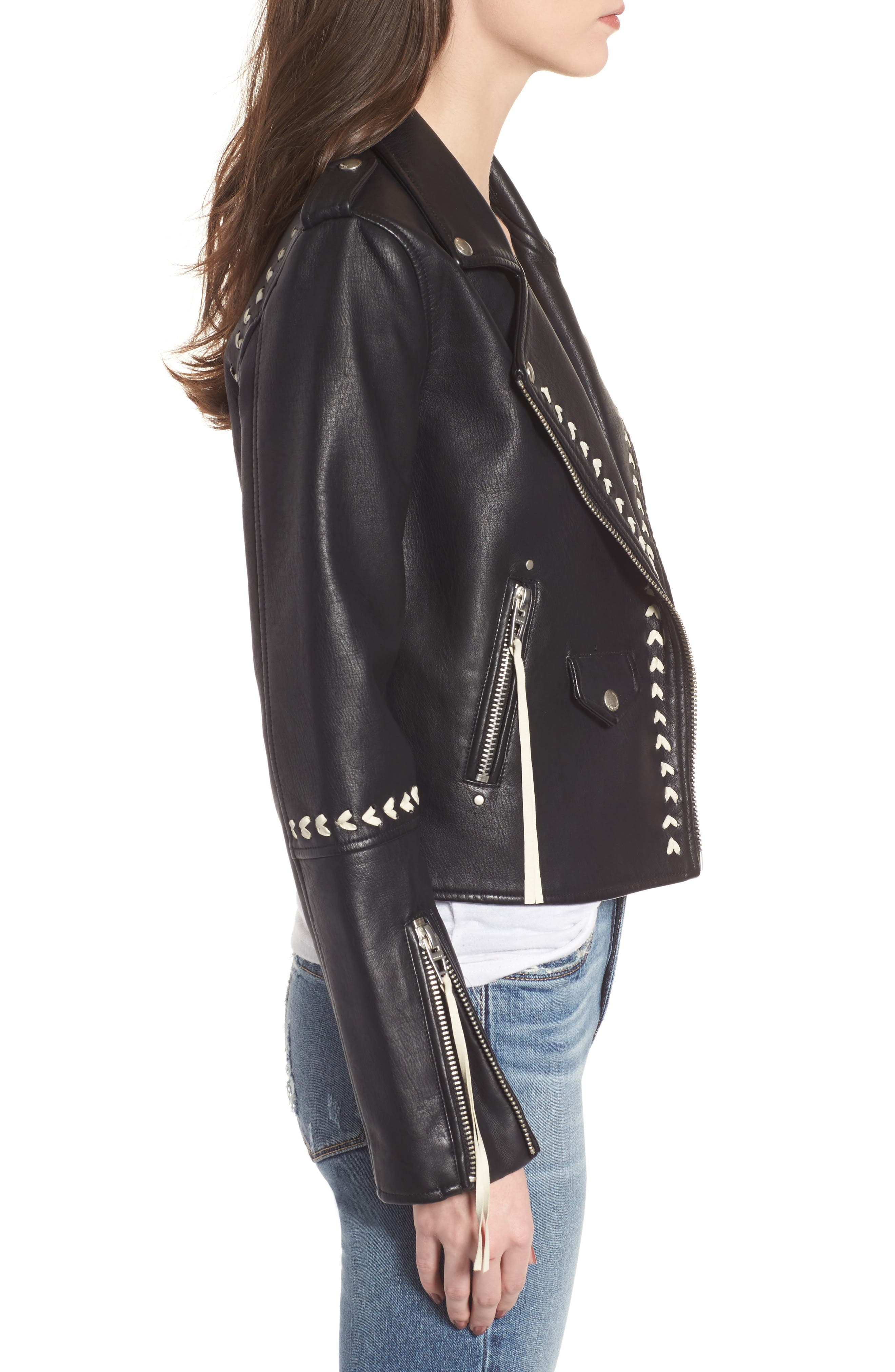 Whipstitched Faux Leather Moto Jacket,                             Alternate thumbnail 3, color,                             001