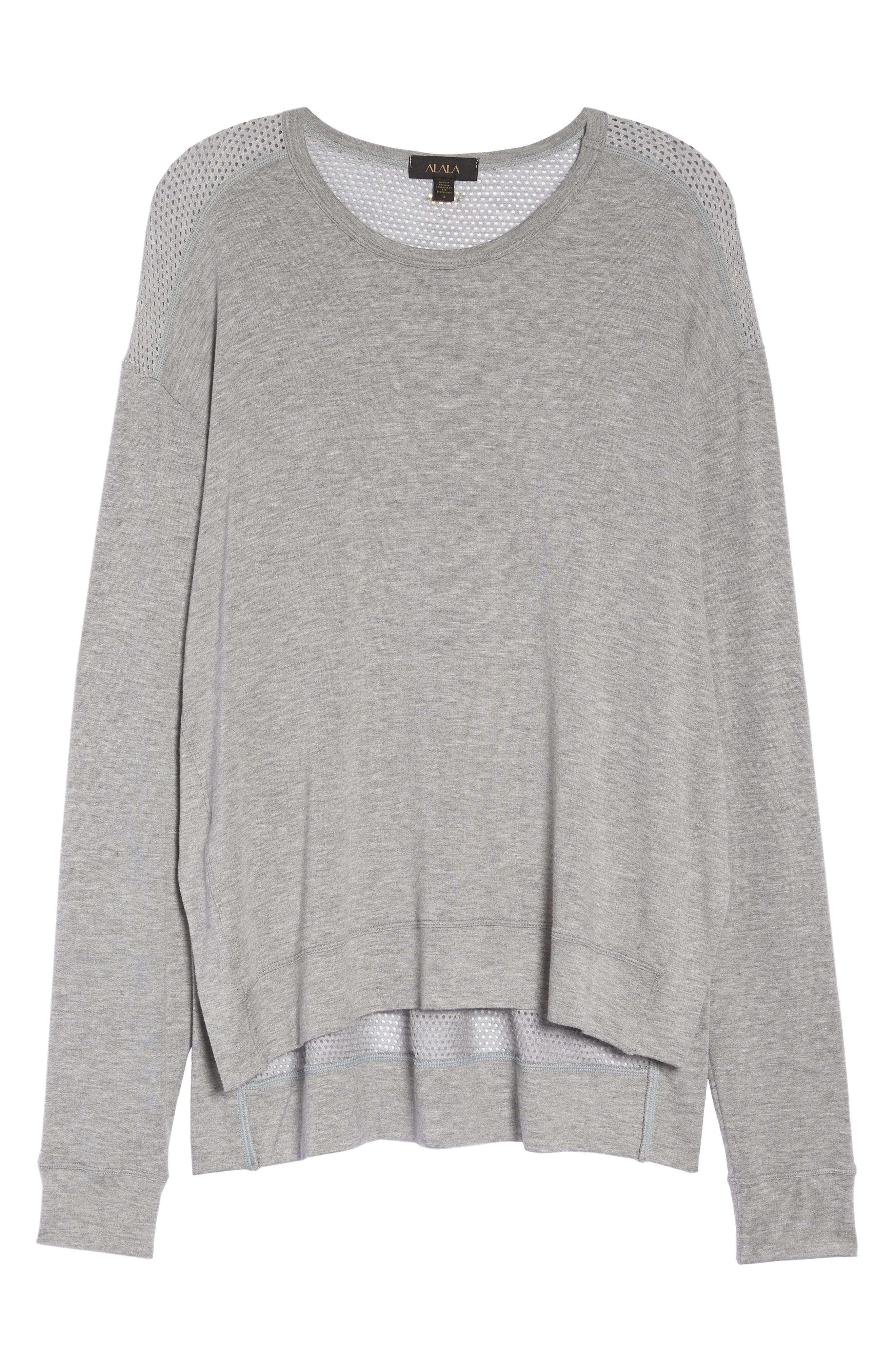 Heron Mesh Back Sweatshirt,                             Alternate thumbnail 7, color,                             HEATHER GREY