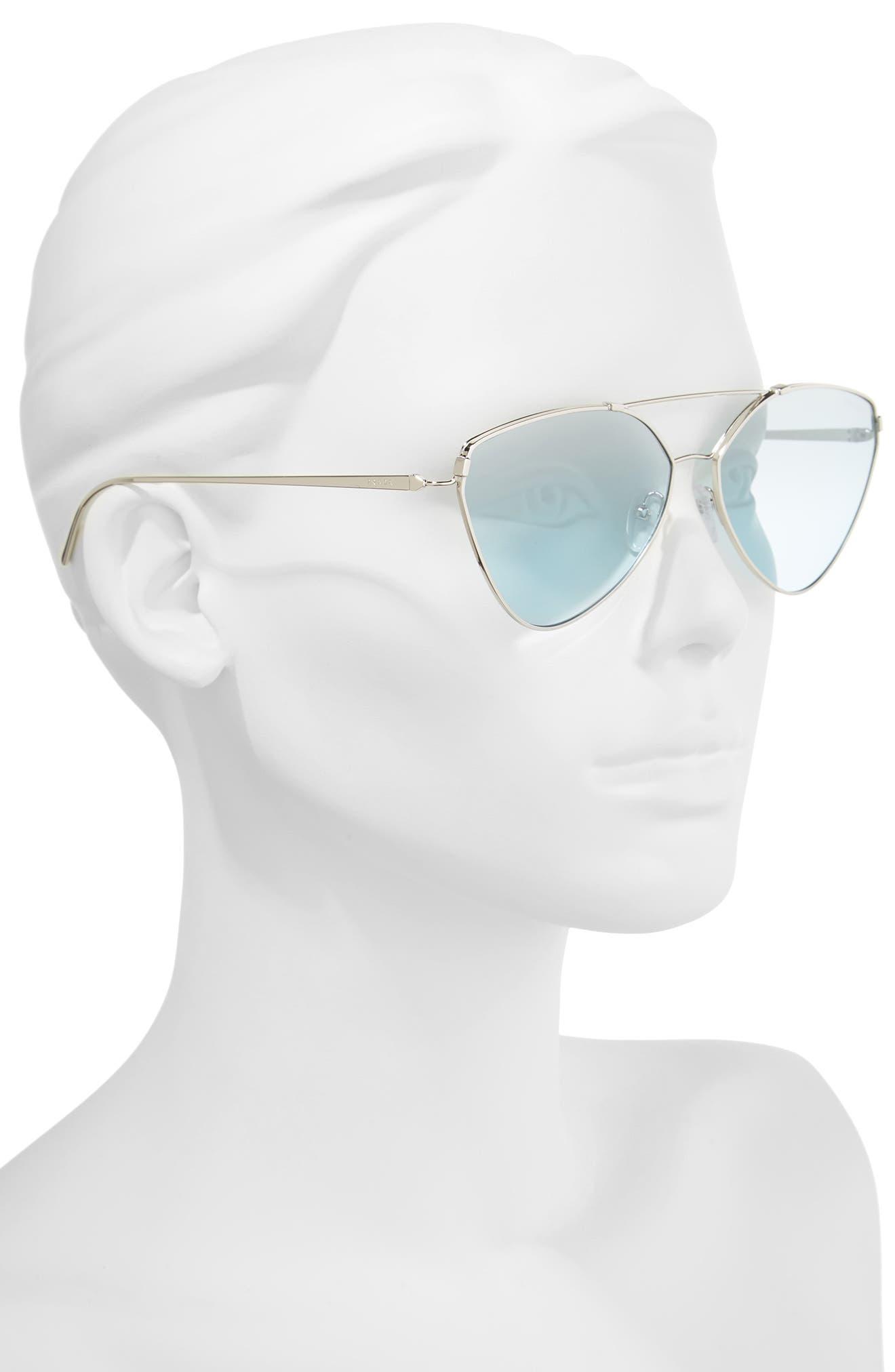 62mm Oversize Aviator Sunglasses,                             Alternate thumbnail 3, color,