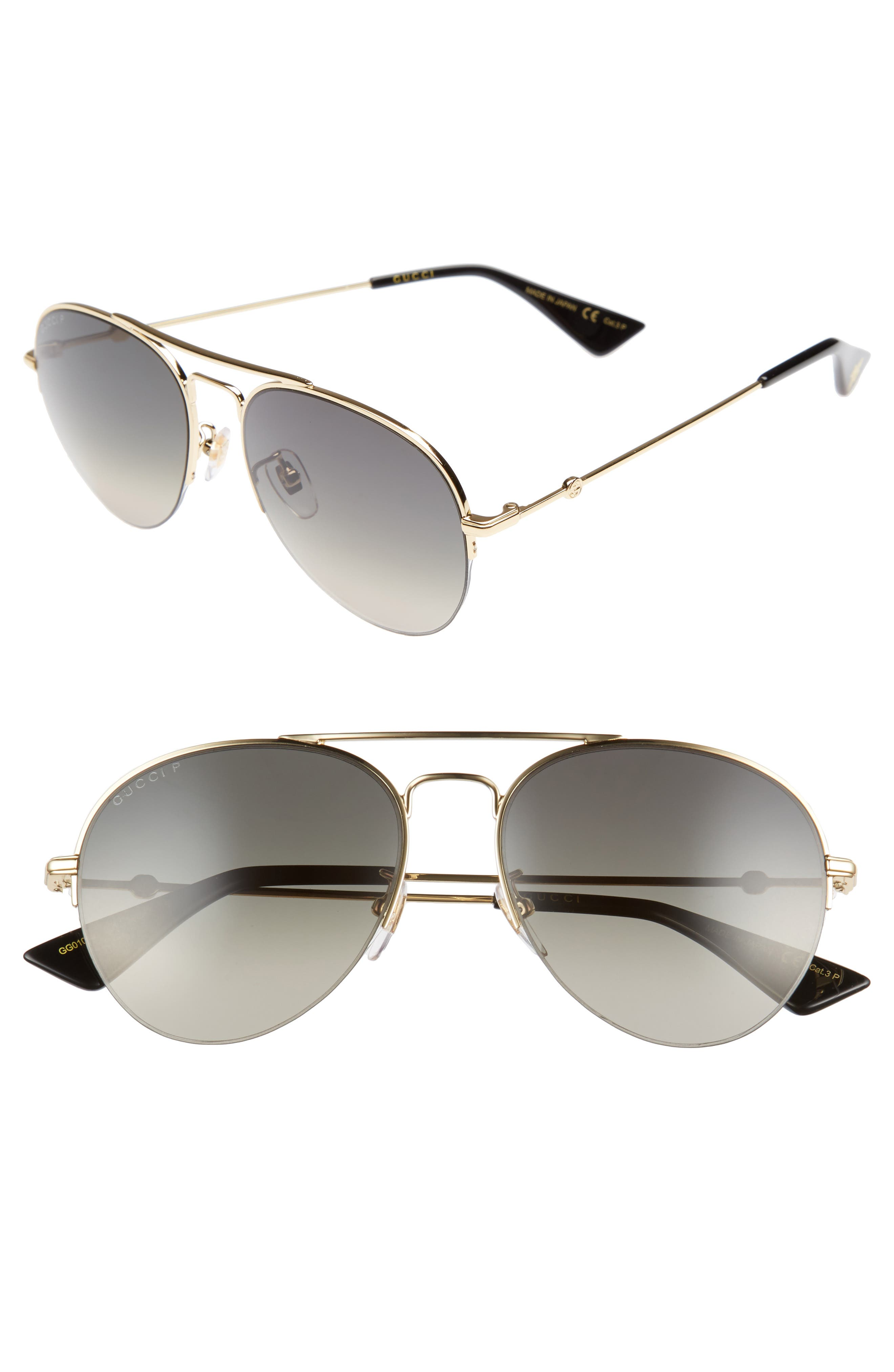 Pilot 56mm Aviator Sunglasses,                             Main thumbnail 1, color,                             GOLD