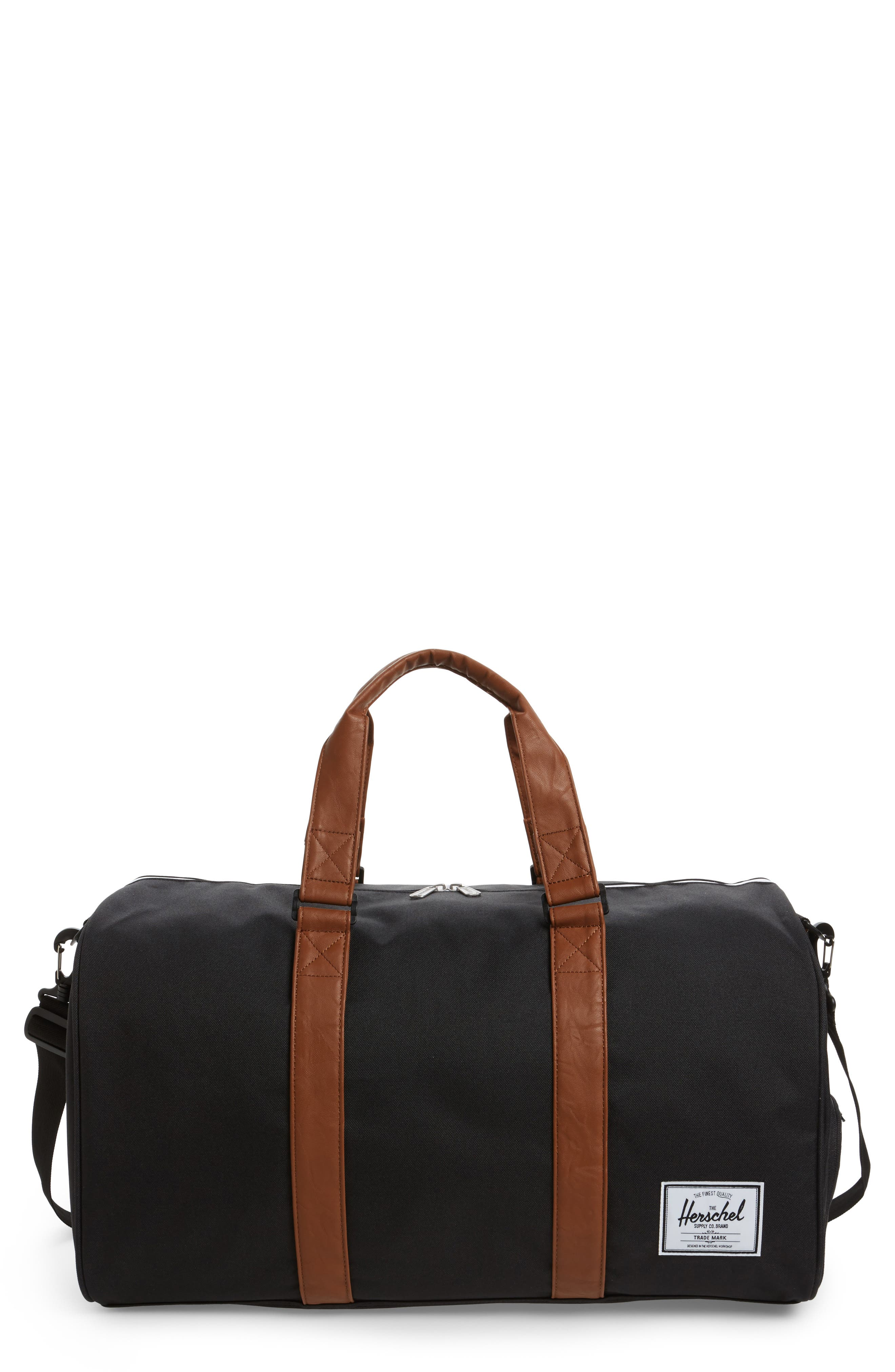 'Novel' Duffel Bag,                             Main thumbnail 1, color,                             BLACK/ TAN