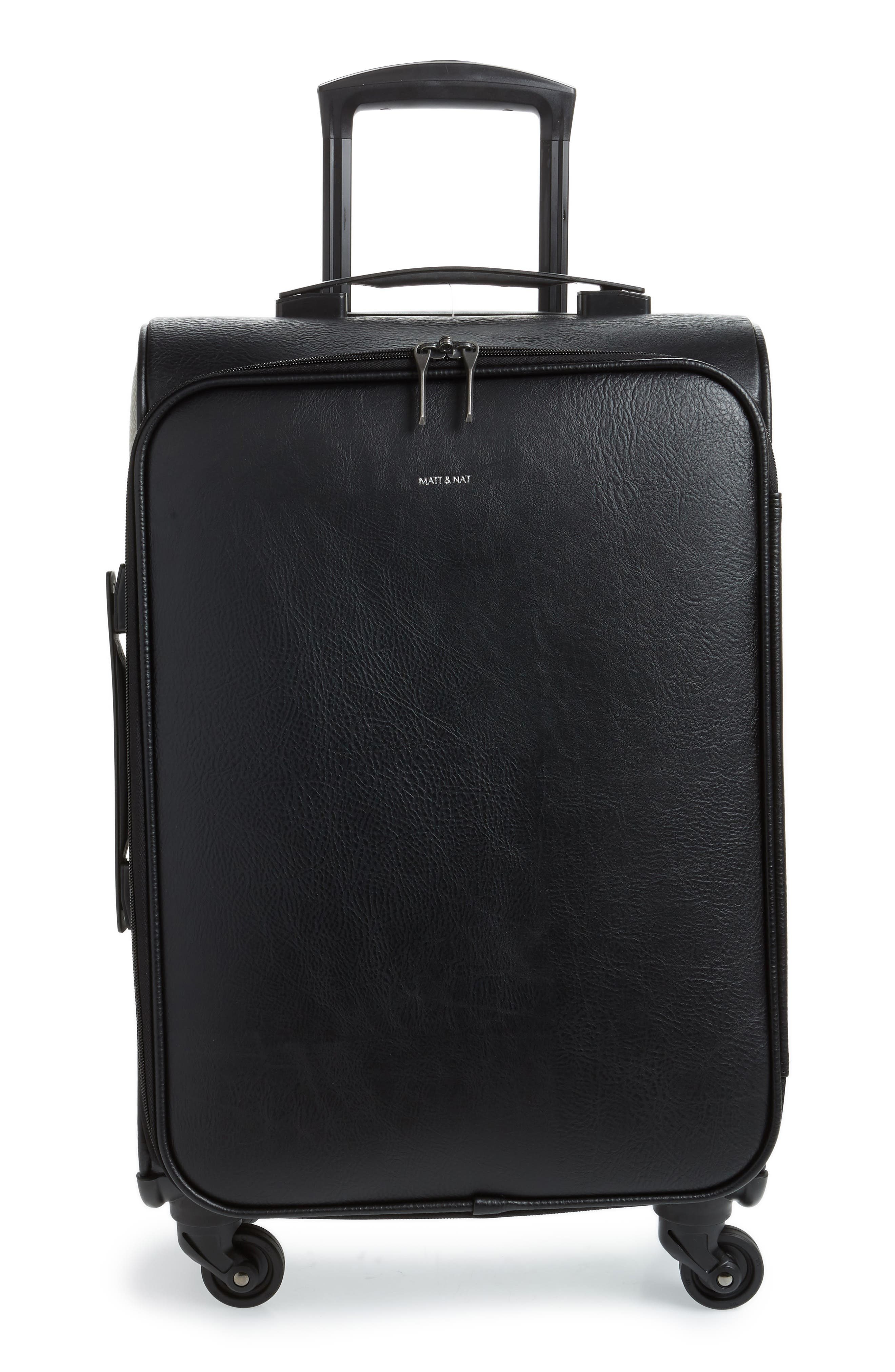 Matt & Nat Coast 20-Inch Faux Leather Spinner Carry-On - Black