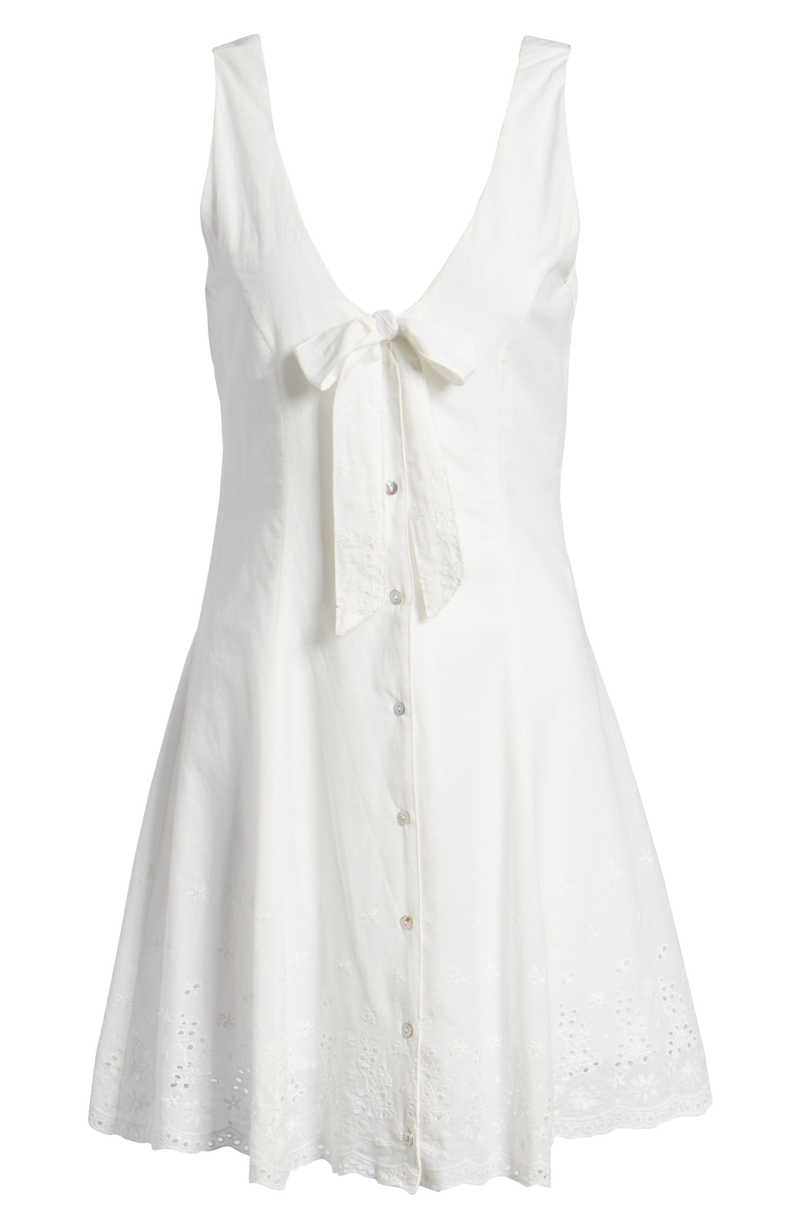 Bianco Eyelet Hem Dress,                             Alternate thumbnail 6, color,                             100