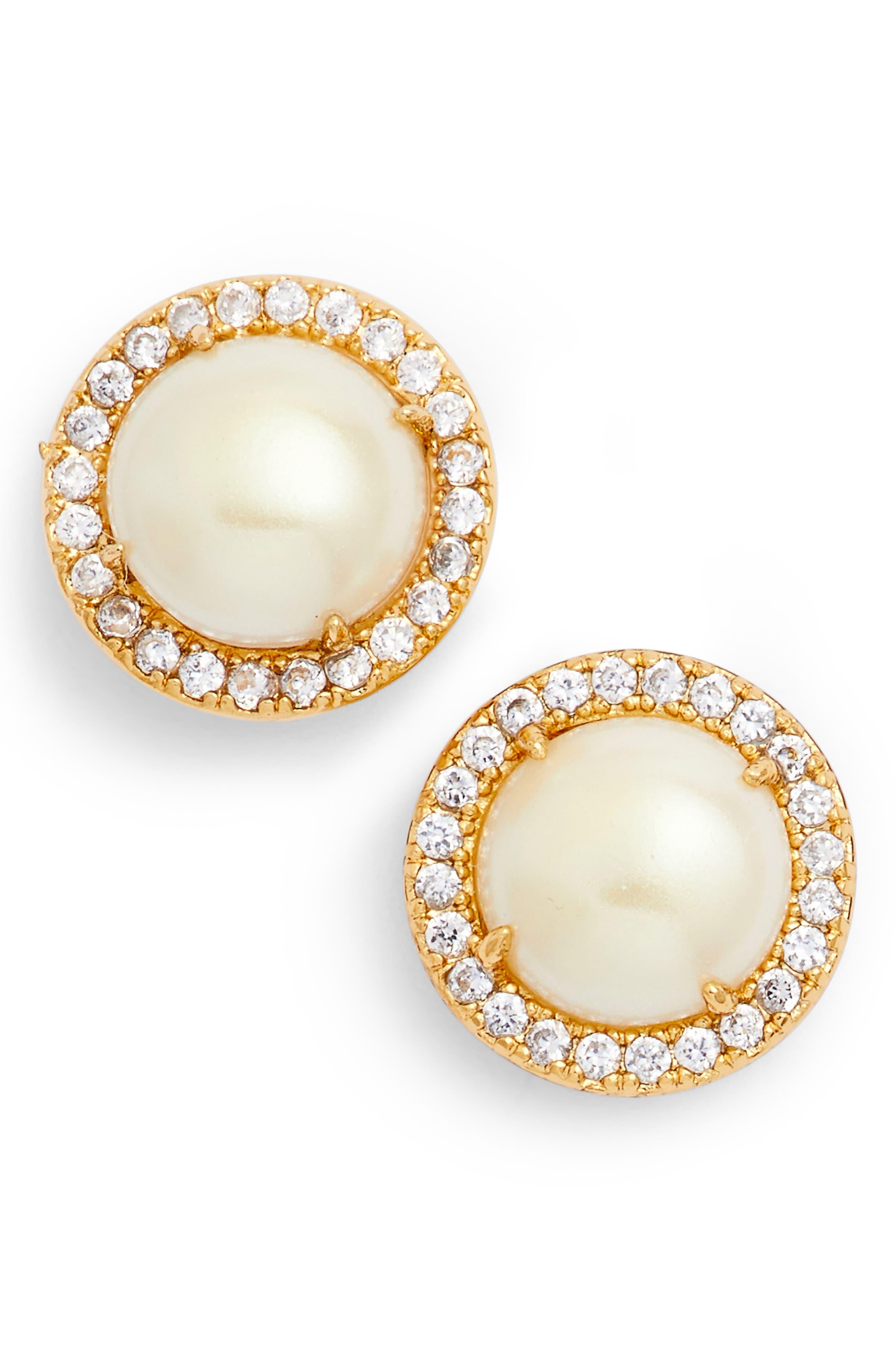 bright ideas pavé halo stud earrings,                         Main,                         color, CREAM/ GOLD