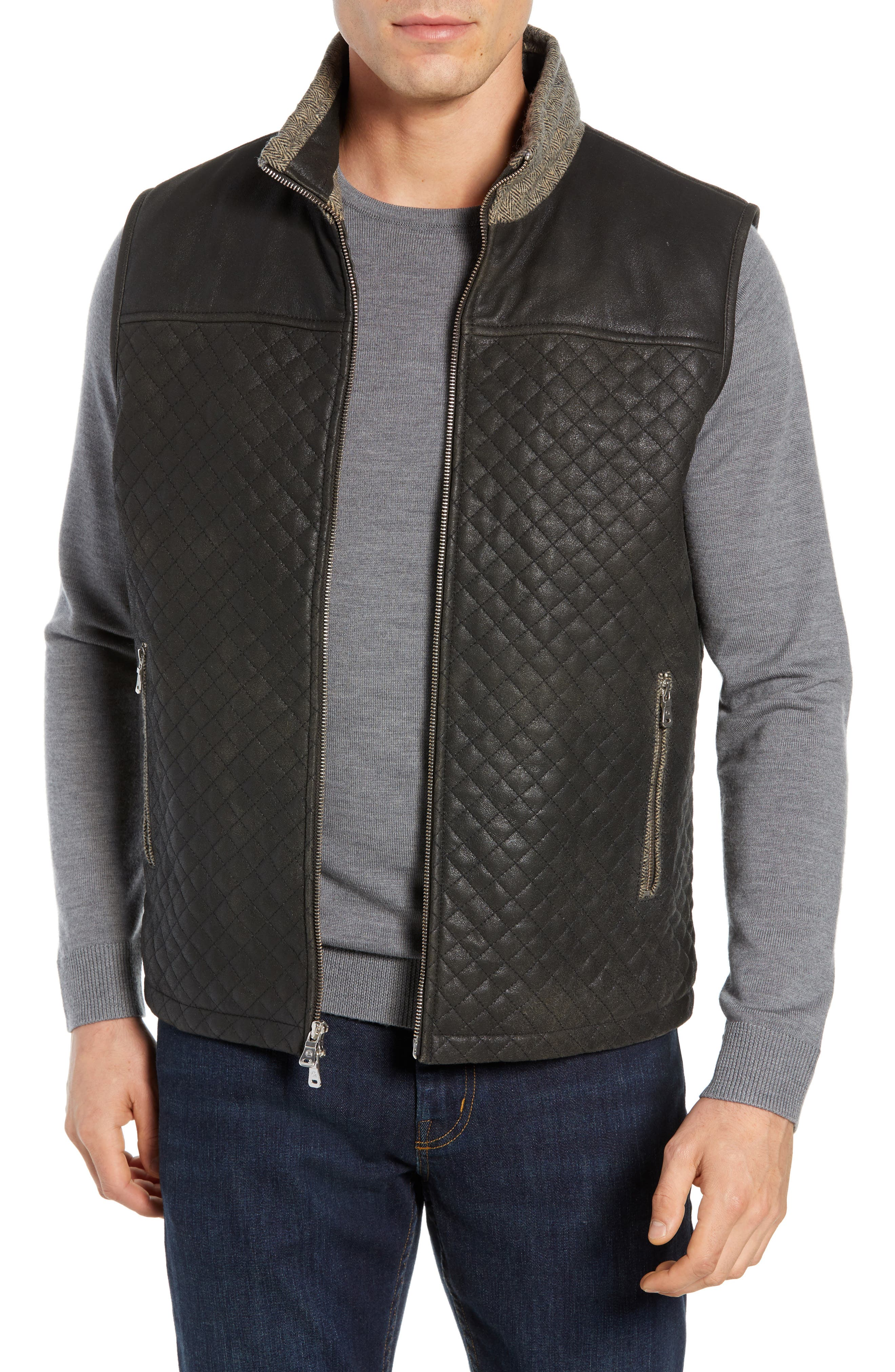 Quilted Leather & Wool Vest, Main, color, 001