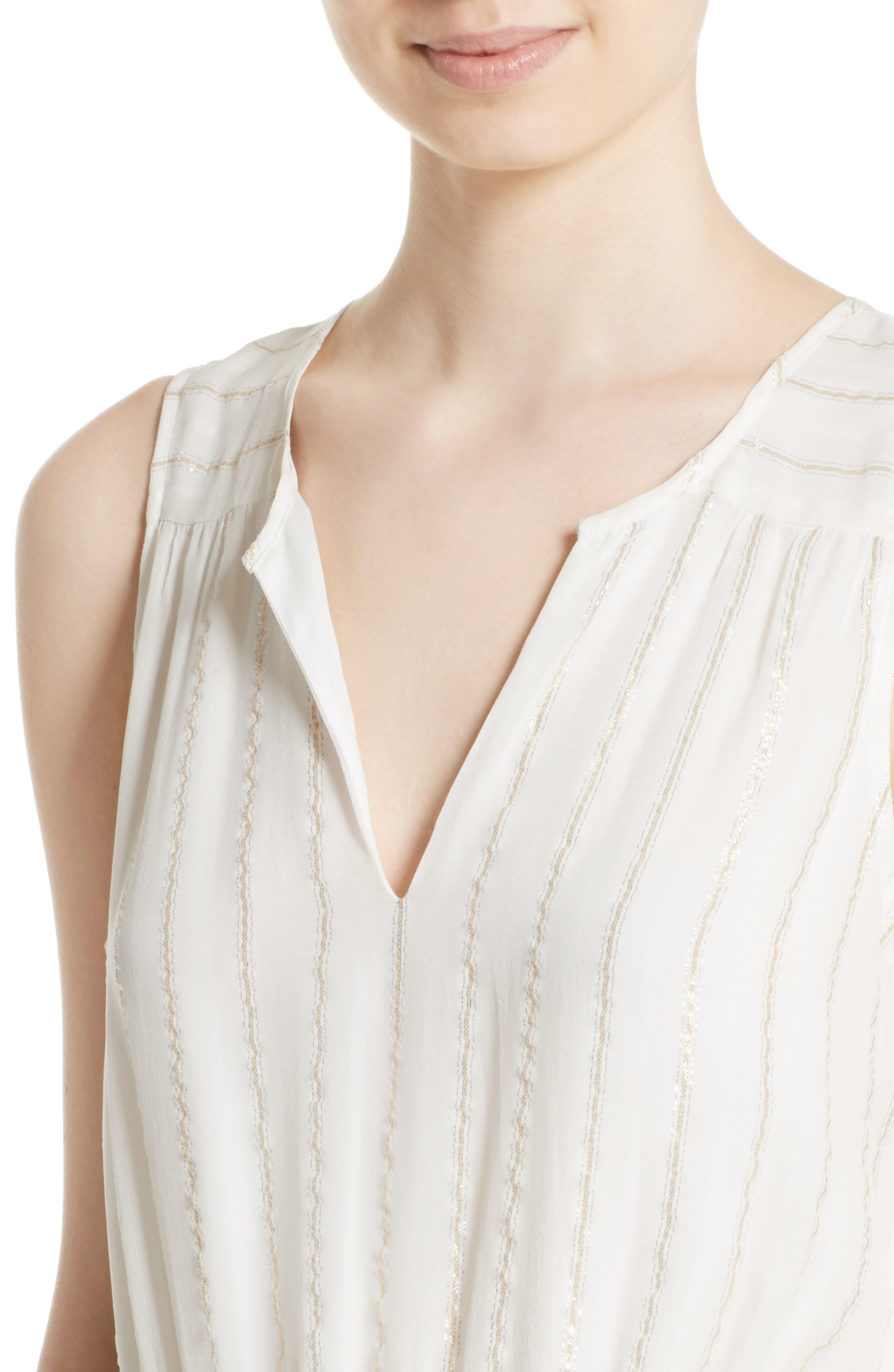 Klea Metallic Stripe Silk Midi Dress,                             Alternate thumbnail 4, color,                             114