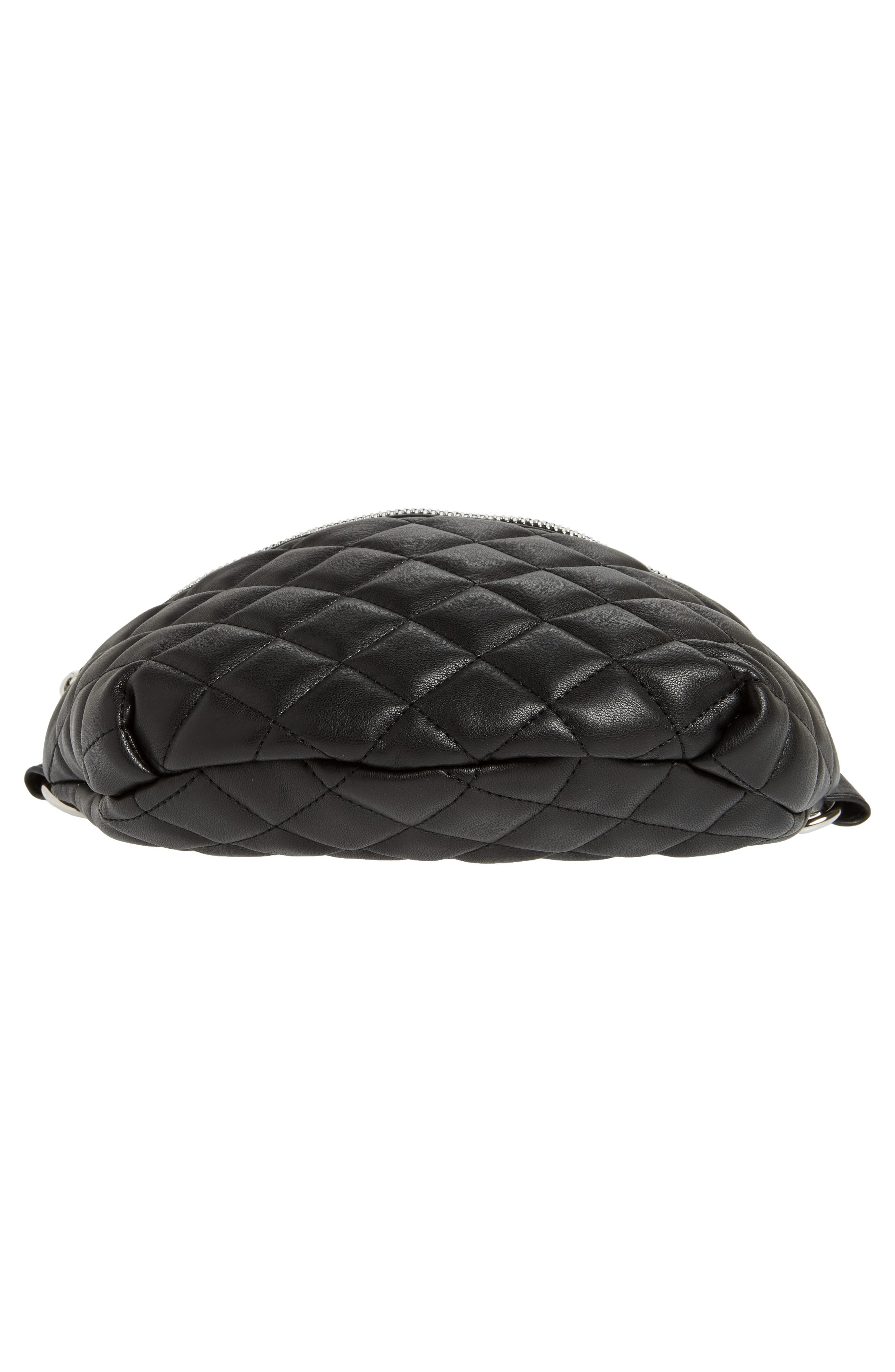 Quilted Faux Leather Fanny Pack,                             Alternate thumbnail 9, color,                             BLACK
