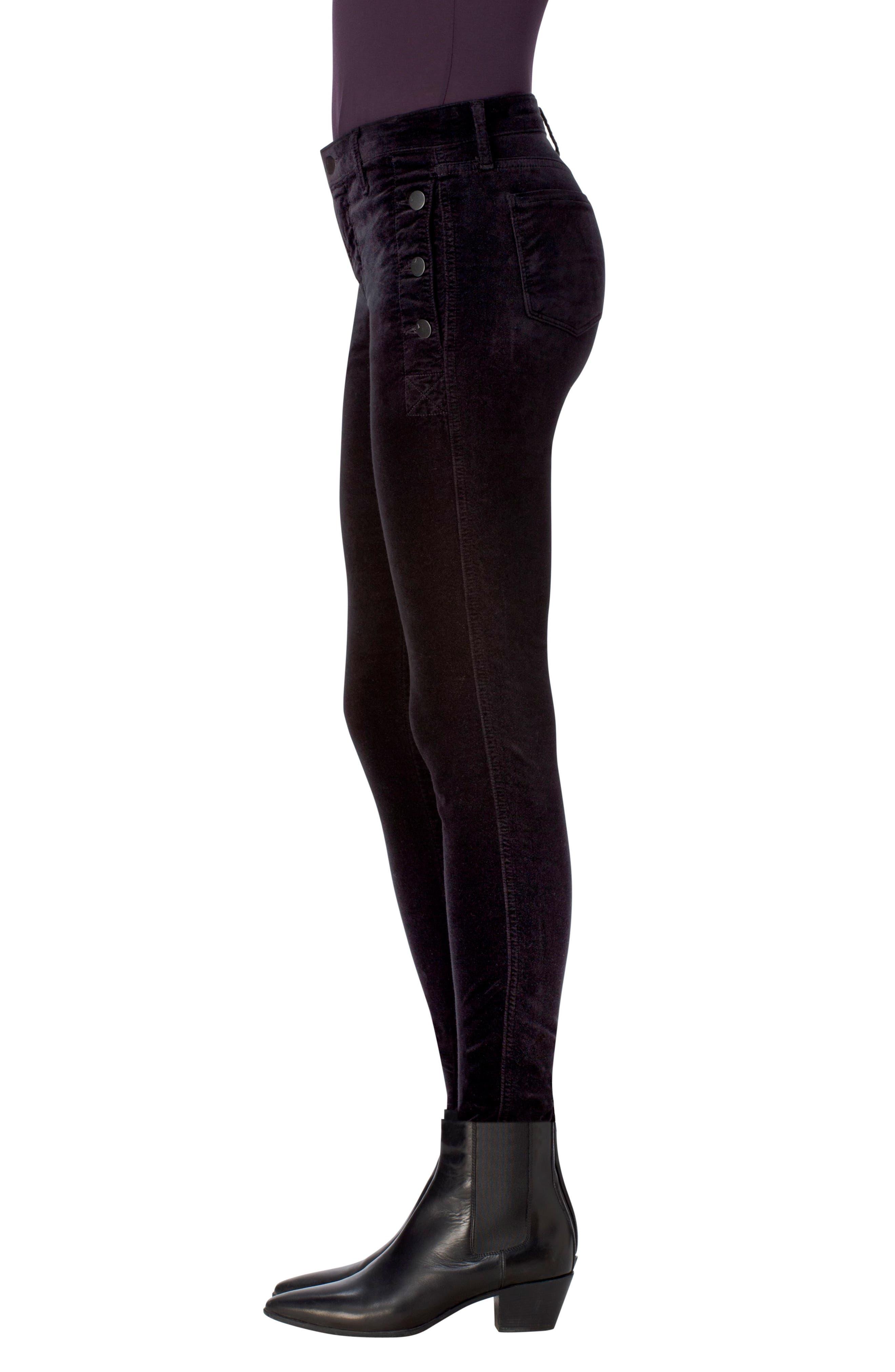 Zion Mid Rise Velvet Skinny Jeans,                             Alternate thumbnail 3, color,                             001