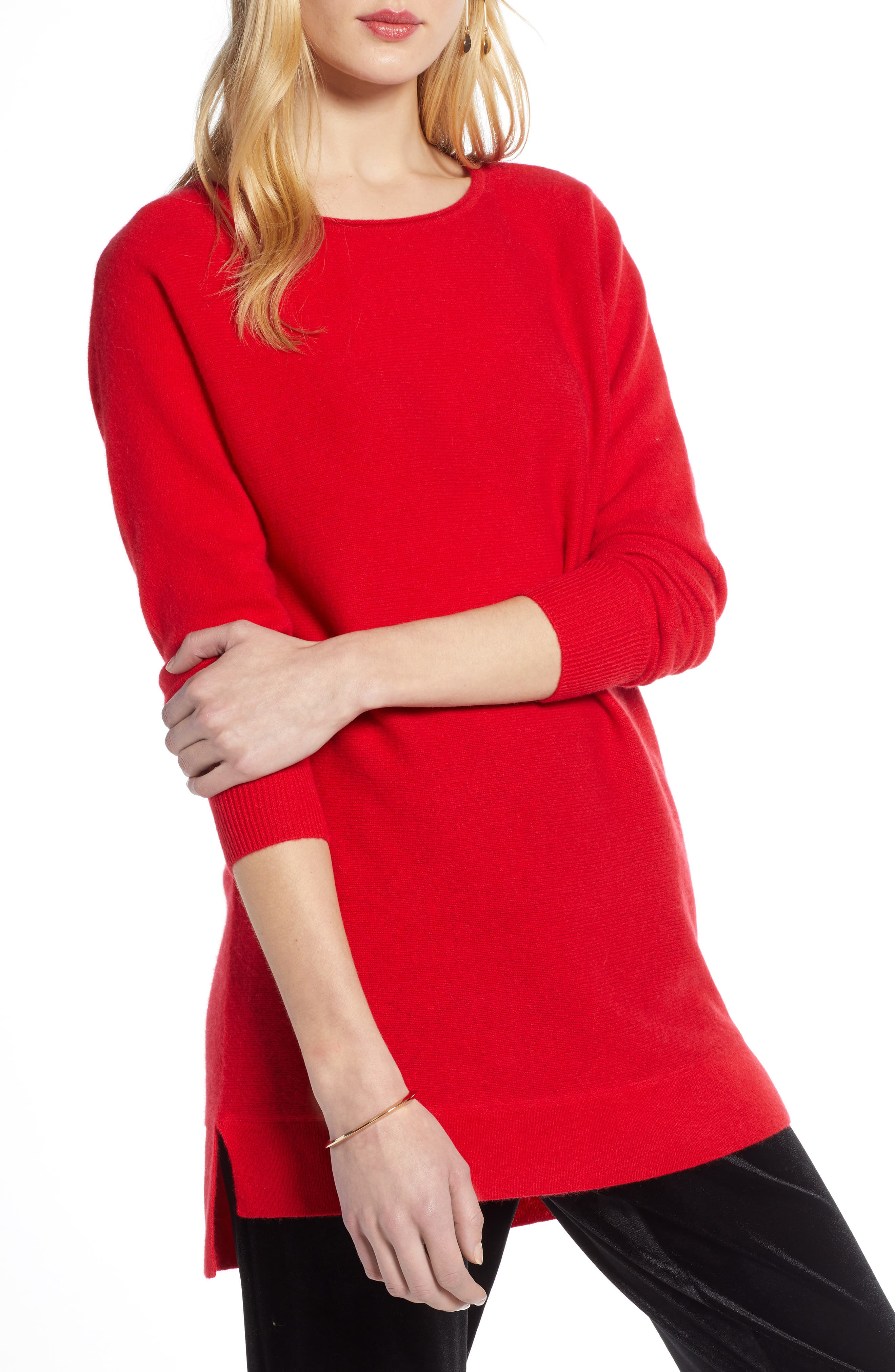 Halogen High/low Wool & Cashmere Tunic Sweater, Red