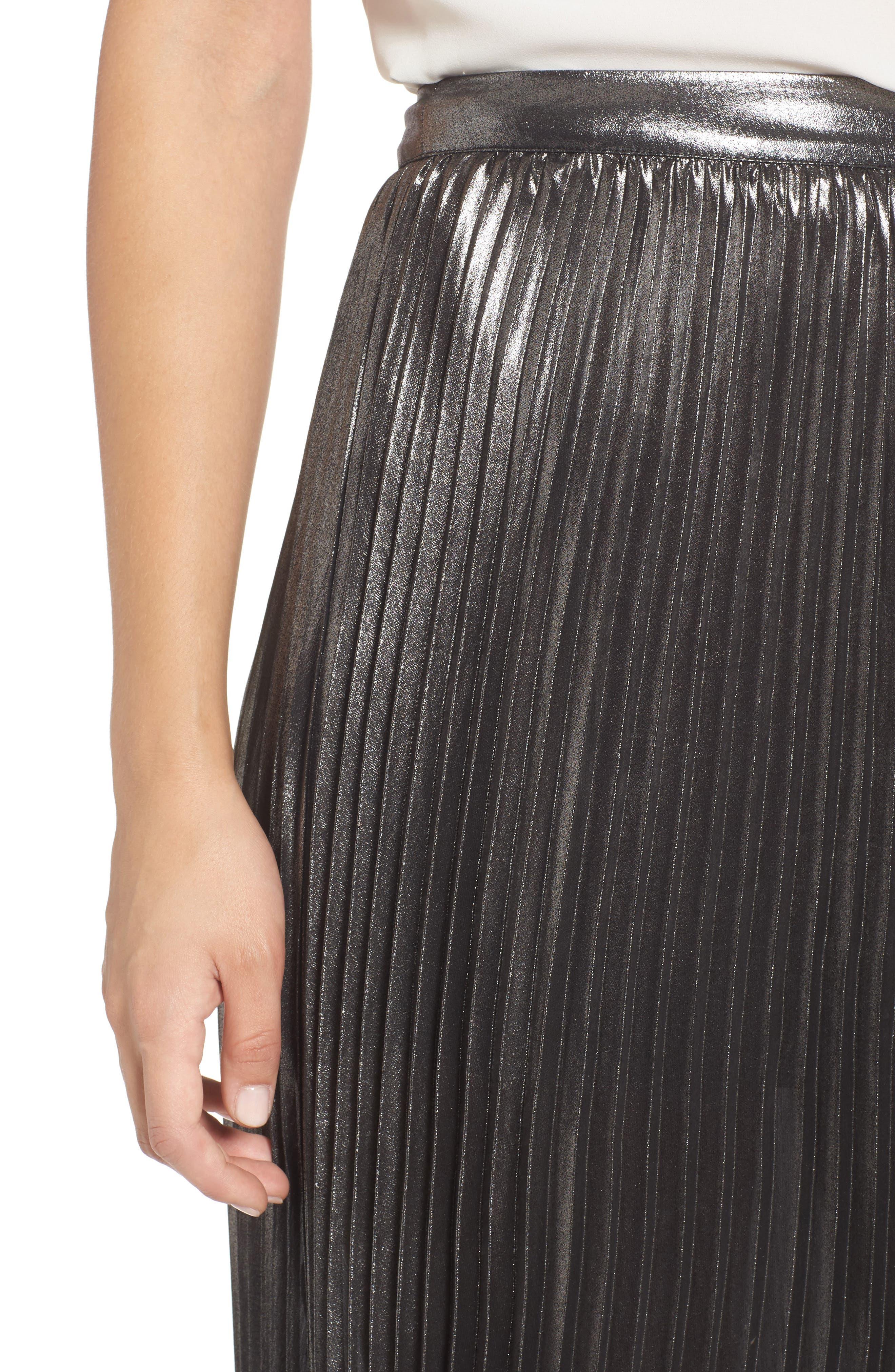 Metallic Pleated Skirt,                             Alternate thumbnail 4, color,                             040