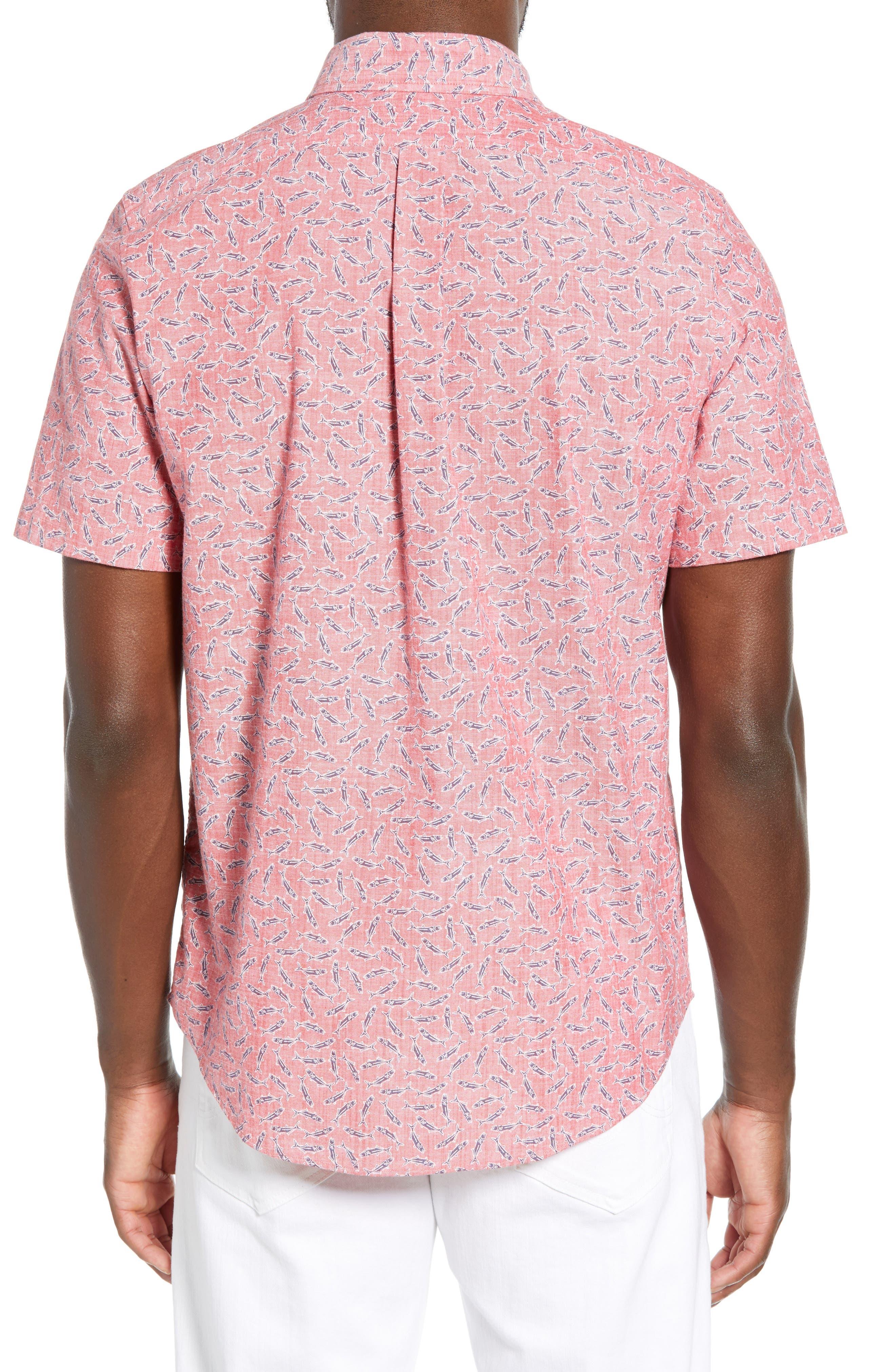 VINEYARD VINES,                             Murray Slim Fit Sport Shirt,                             Alternate thumbnail 3, color,                             LOBSTER REEF