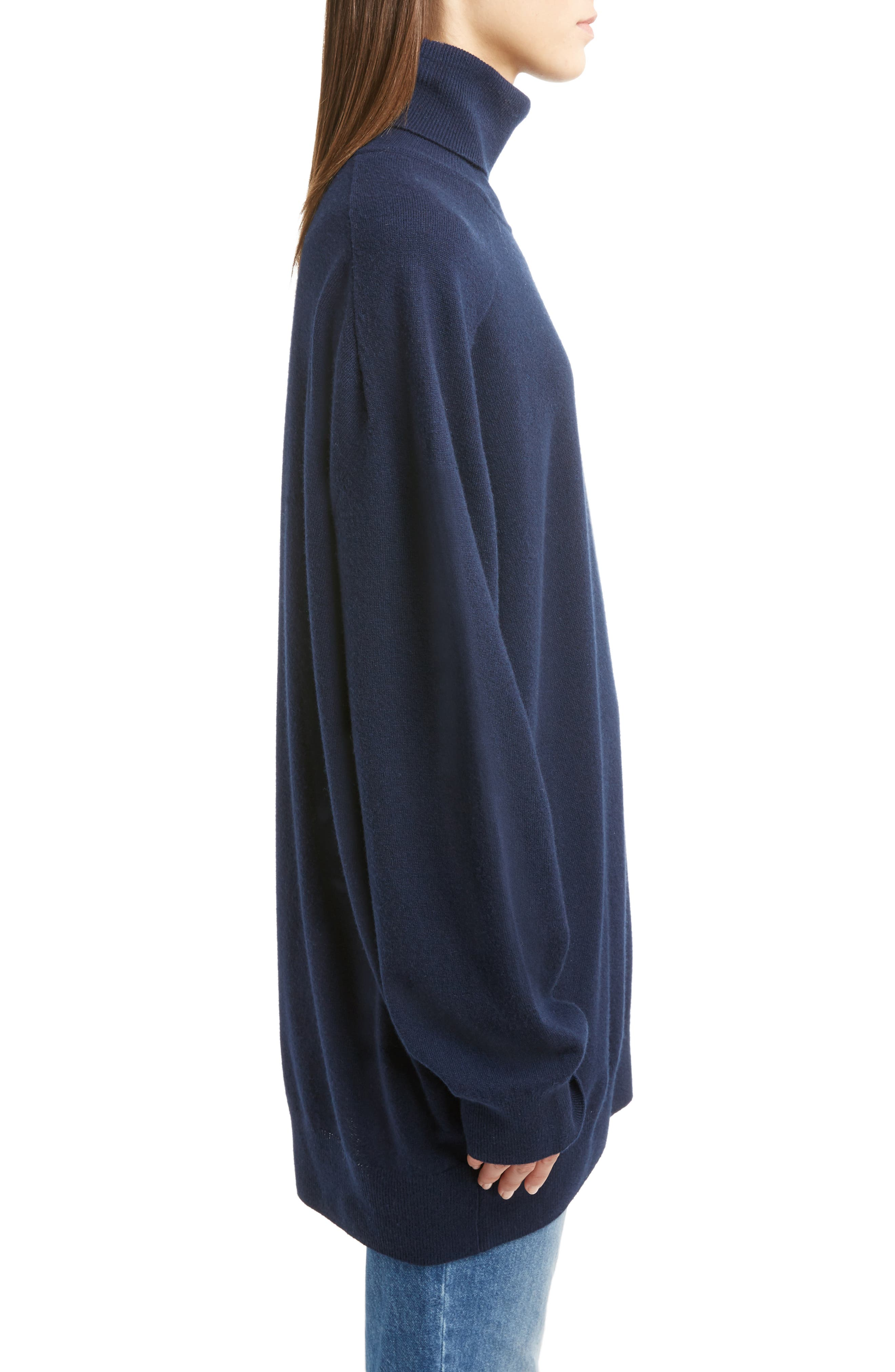 Oversized Cashmere Turtleneck Sweater,                             Alternate thumbnail 6, color,