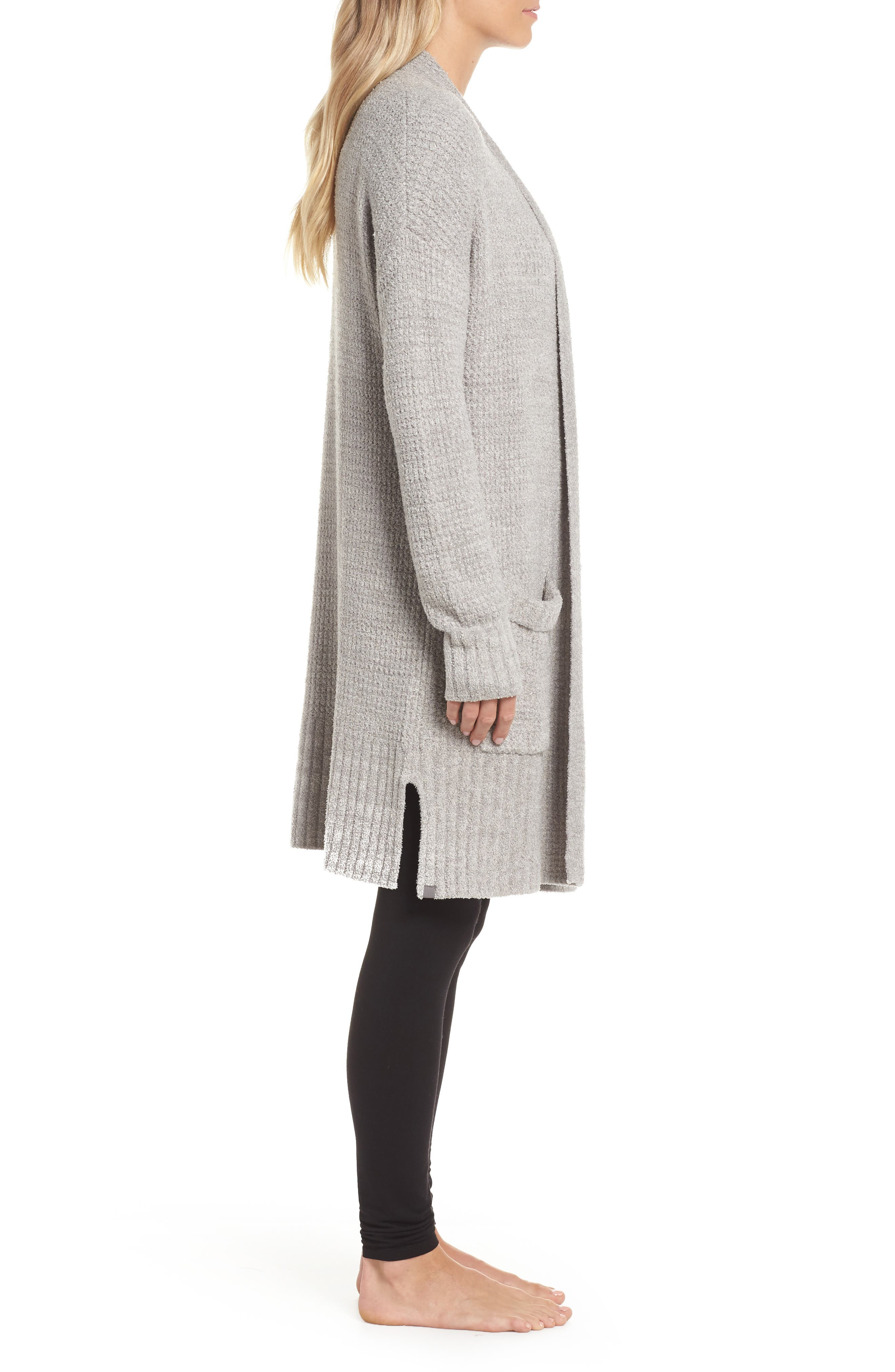 CozyChic<sup>®</sup> Lite Long Weekend Cardigan,                             Alternate thumbnail 3, color,                             PEWTER/ SILVER
