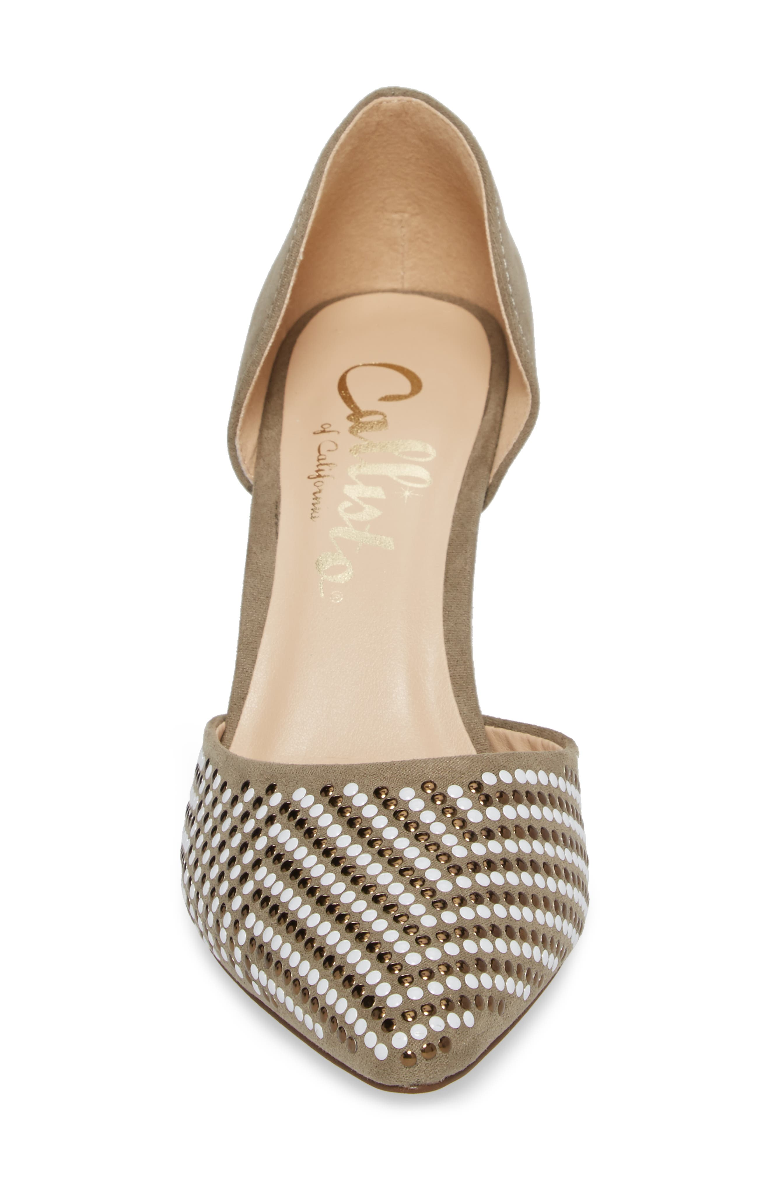 Mimosa Studded d'Orsay Pump,                             Alternate thumbnail 4, color,                             OLIVE SUEDE