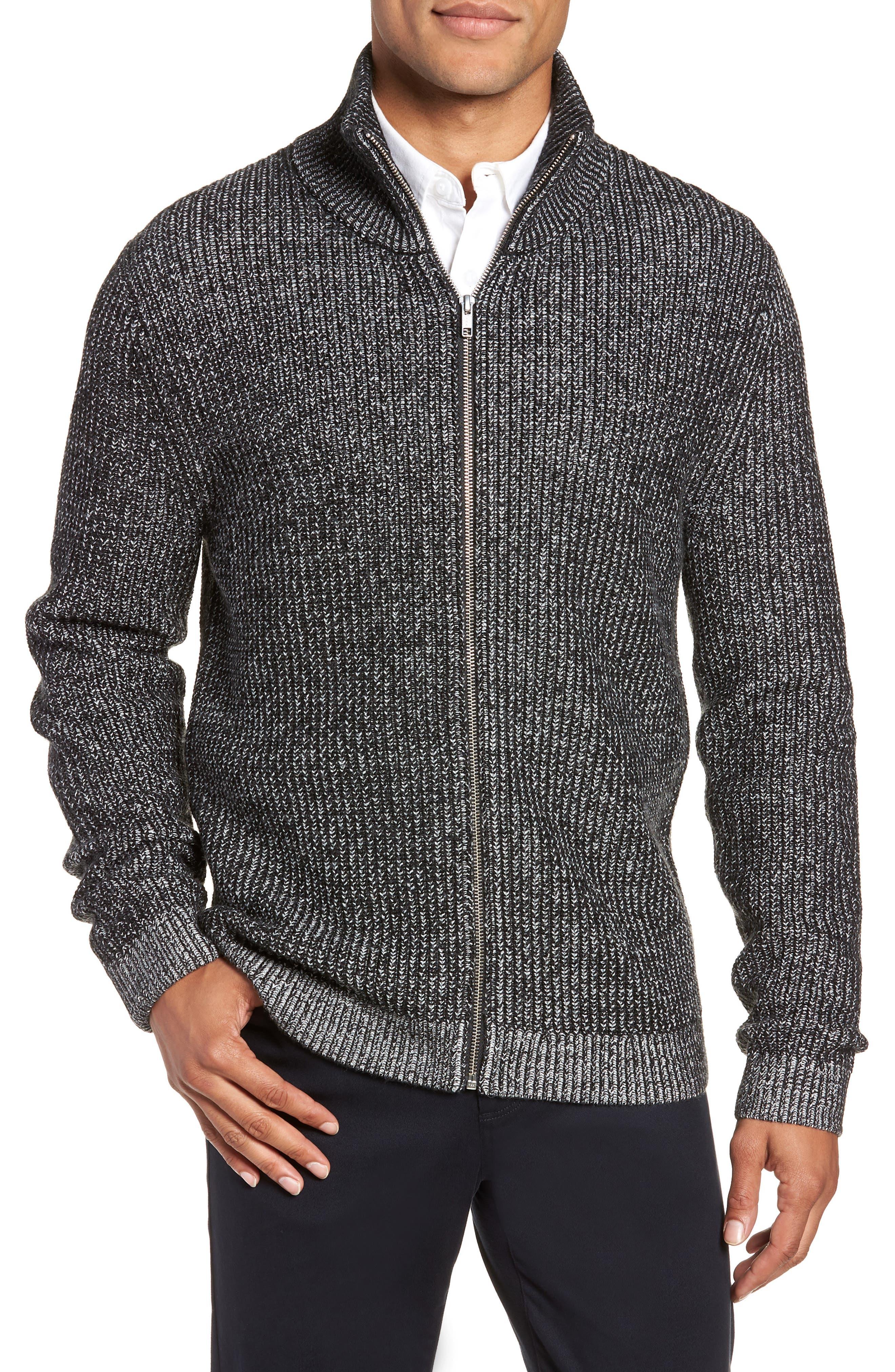 Calibrate Rib Knit Zip Sweater, Black