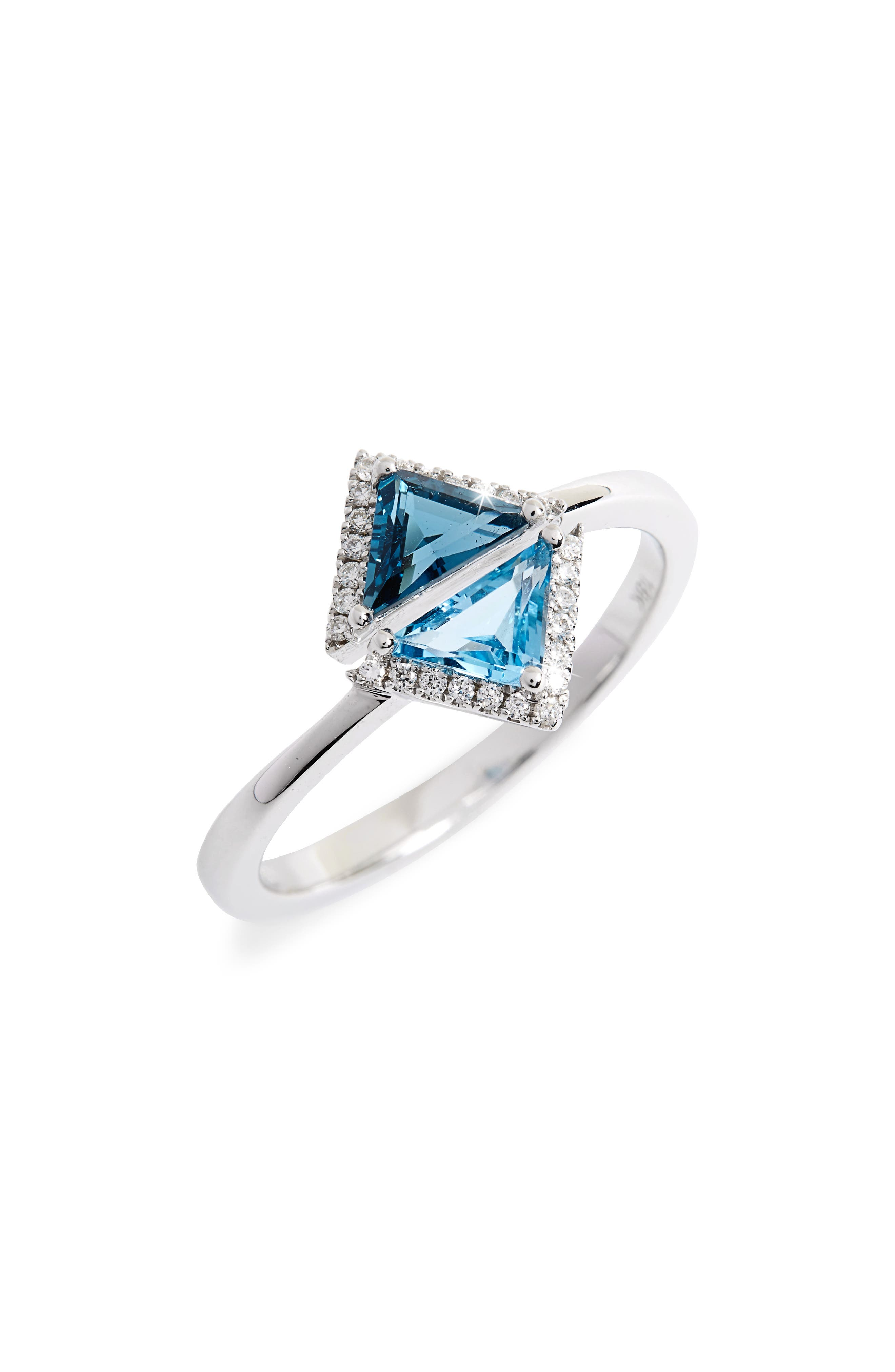 Iris Double Triangle Diamond & Semiprecious Stone Ring, Main, color, 710