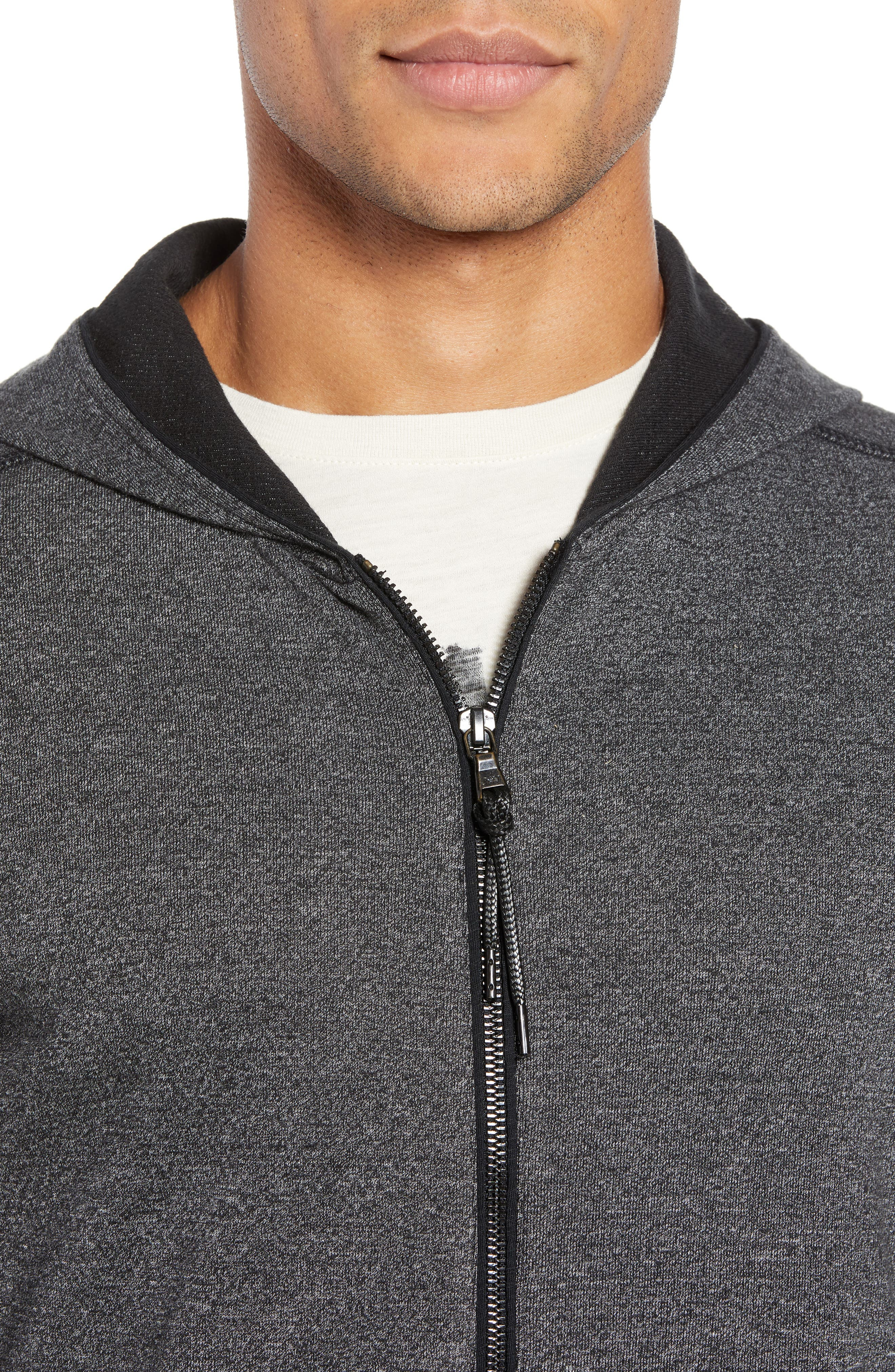 Doubleknit Zip Hoodie,                             Alternate thumbnail 4, color,                             CHARCOAL HEATHER
