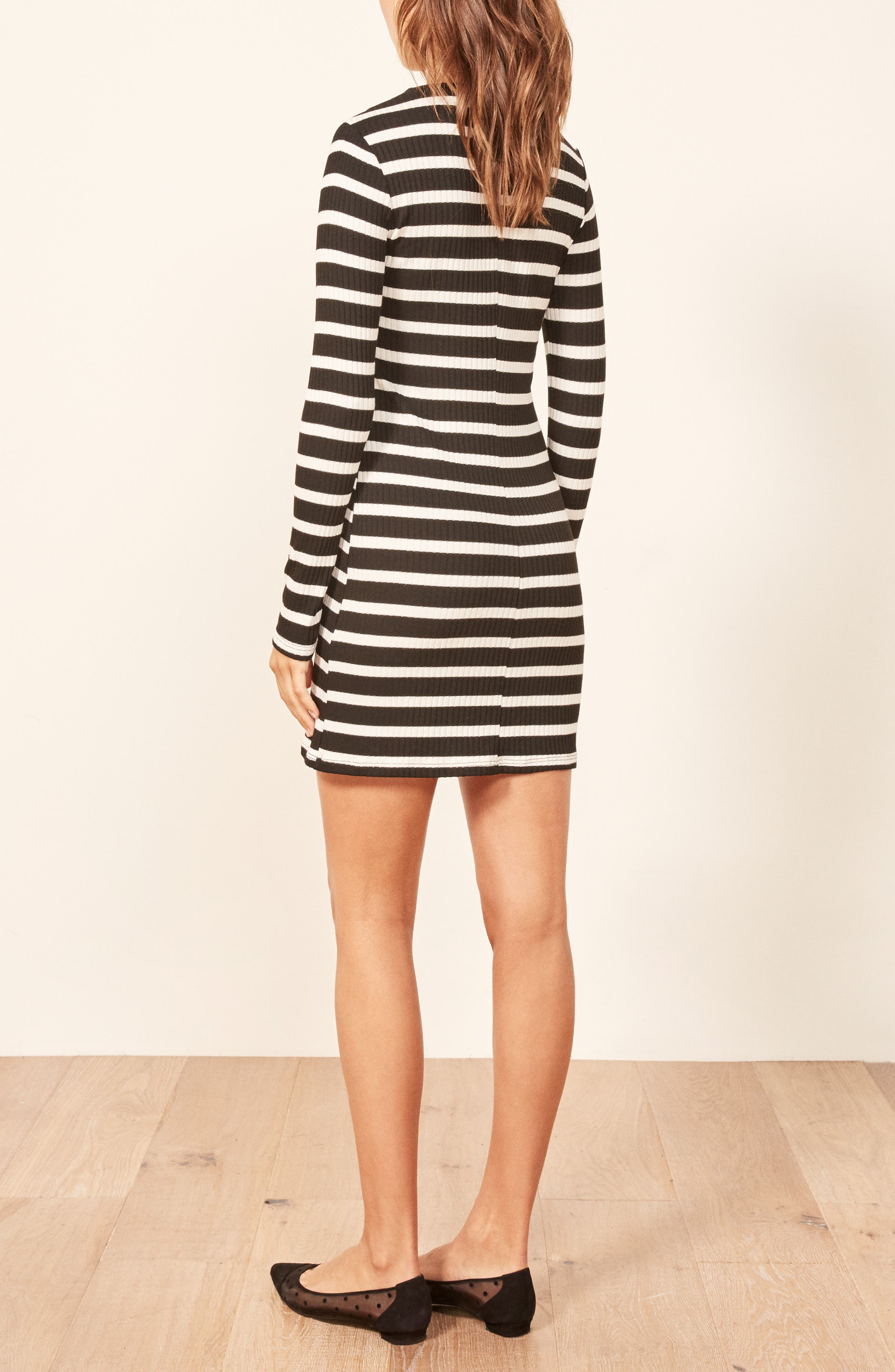 Jeanne Rib Knit Dress,                             Alternate thumbnail 3, color,                             HENRI STRIPE