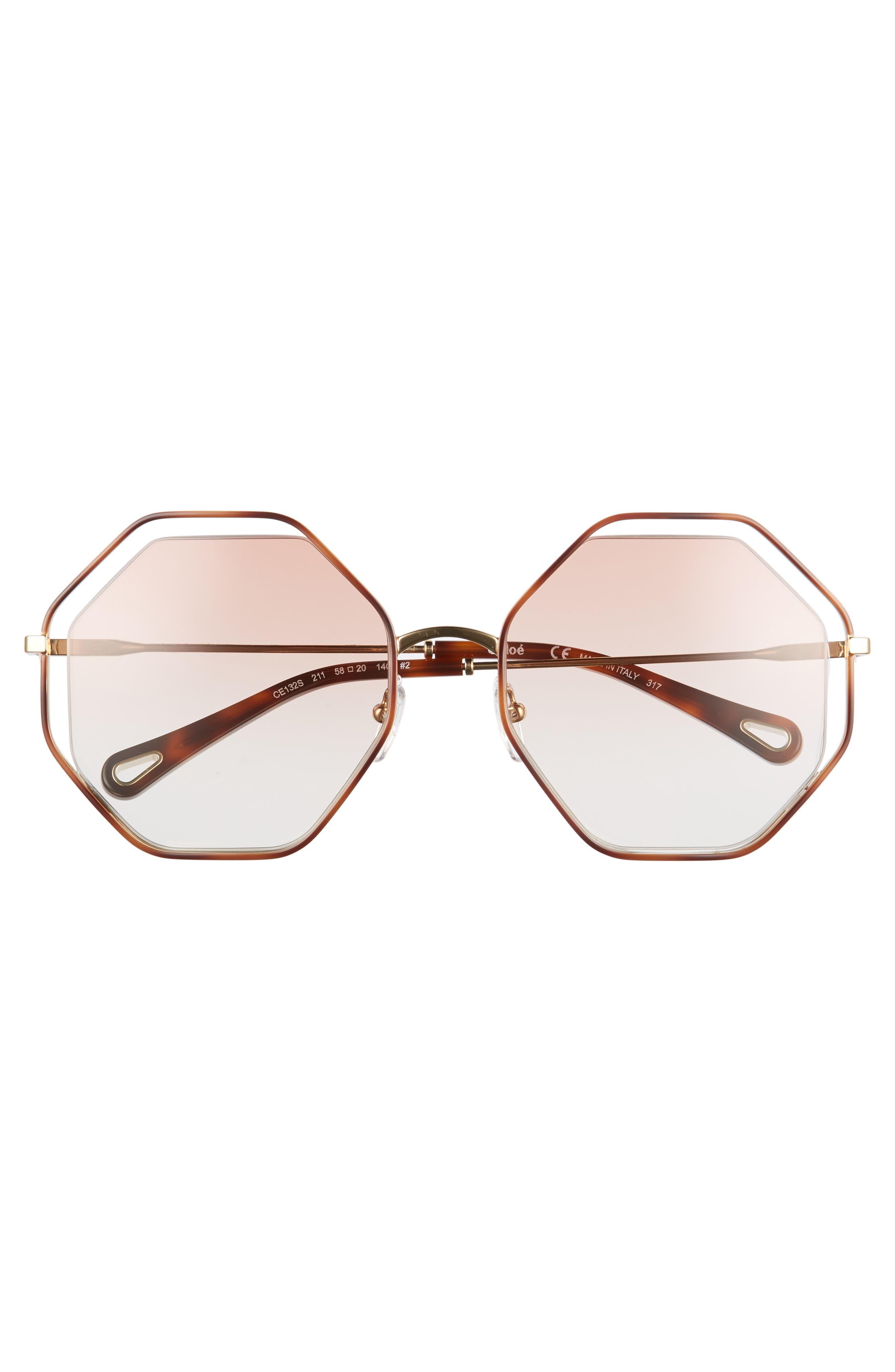 58mm Octagonal Halo Lens Sunglasses,                             Alternate thumbnail 3, color,                             HAVANA/ PEACH