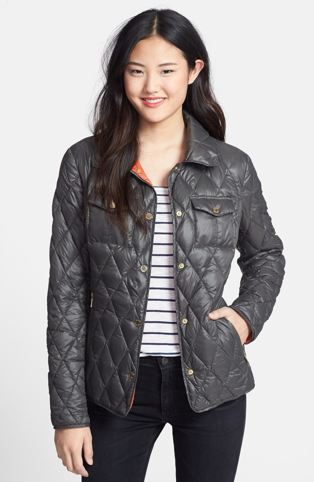 Snap Front Quilted Down Jacket,                             Main thumbnail 1, color,                             077