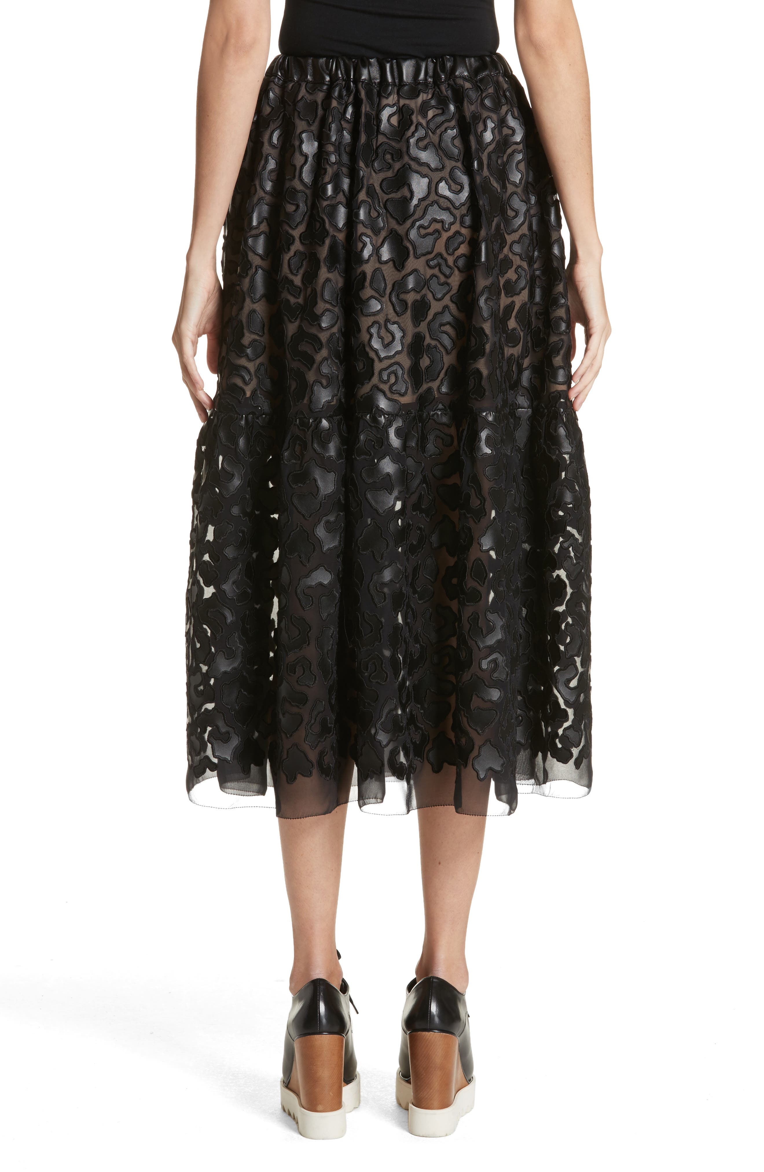 Faux Leather Leopard Print Skirt,                             Alternate thumbnail 2, color,