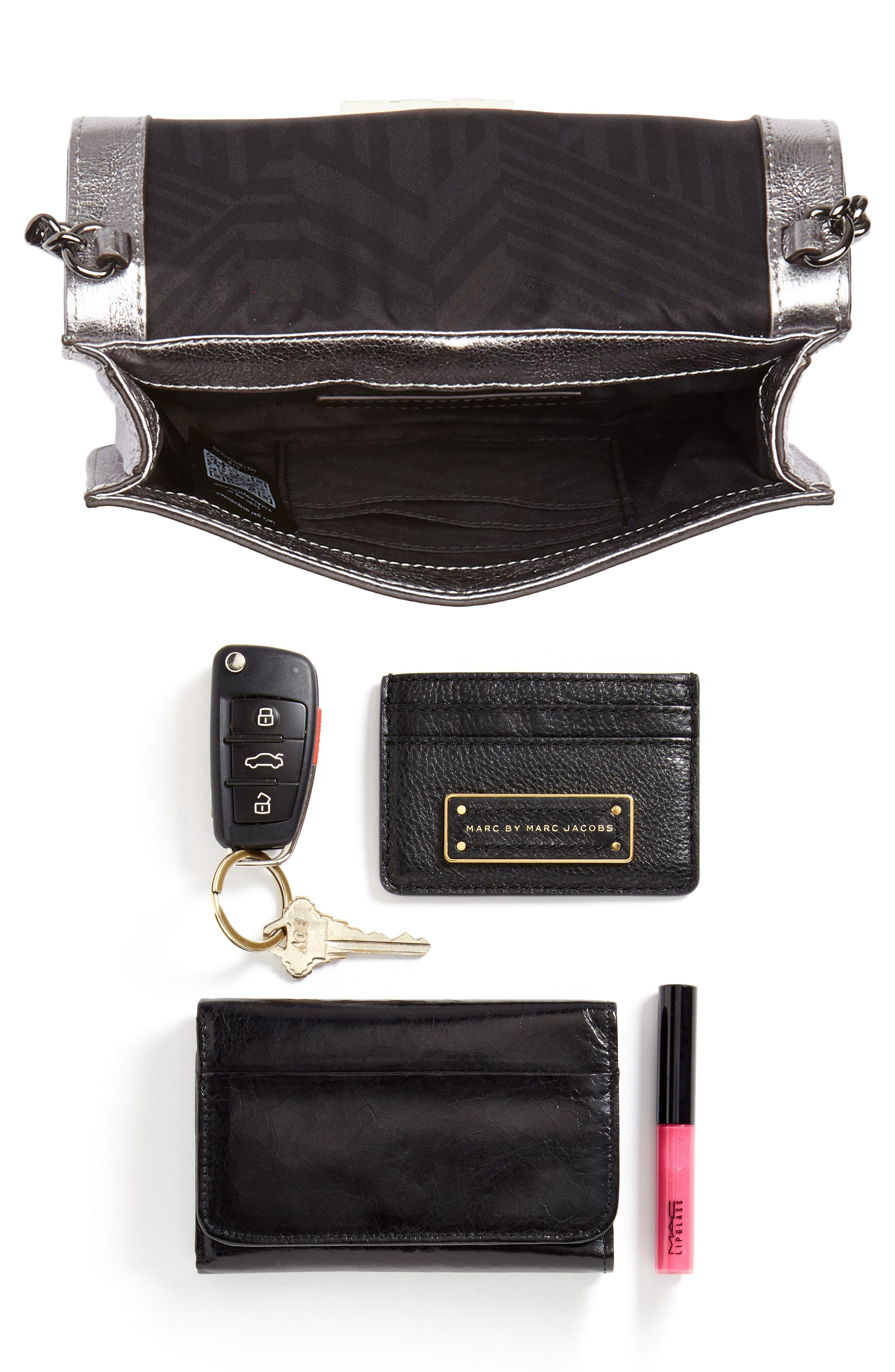 Small Love Metallic Leather Crossbody Bag,                             Alternate thumbnail 19, color,