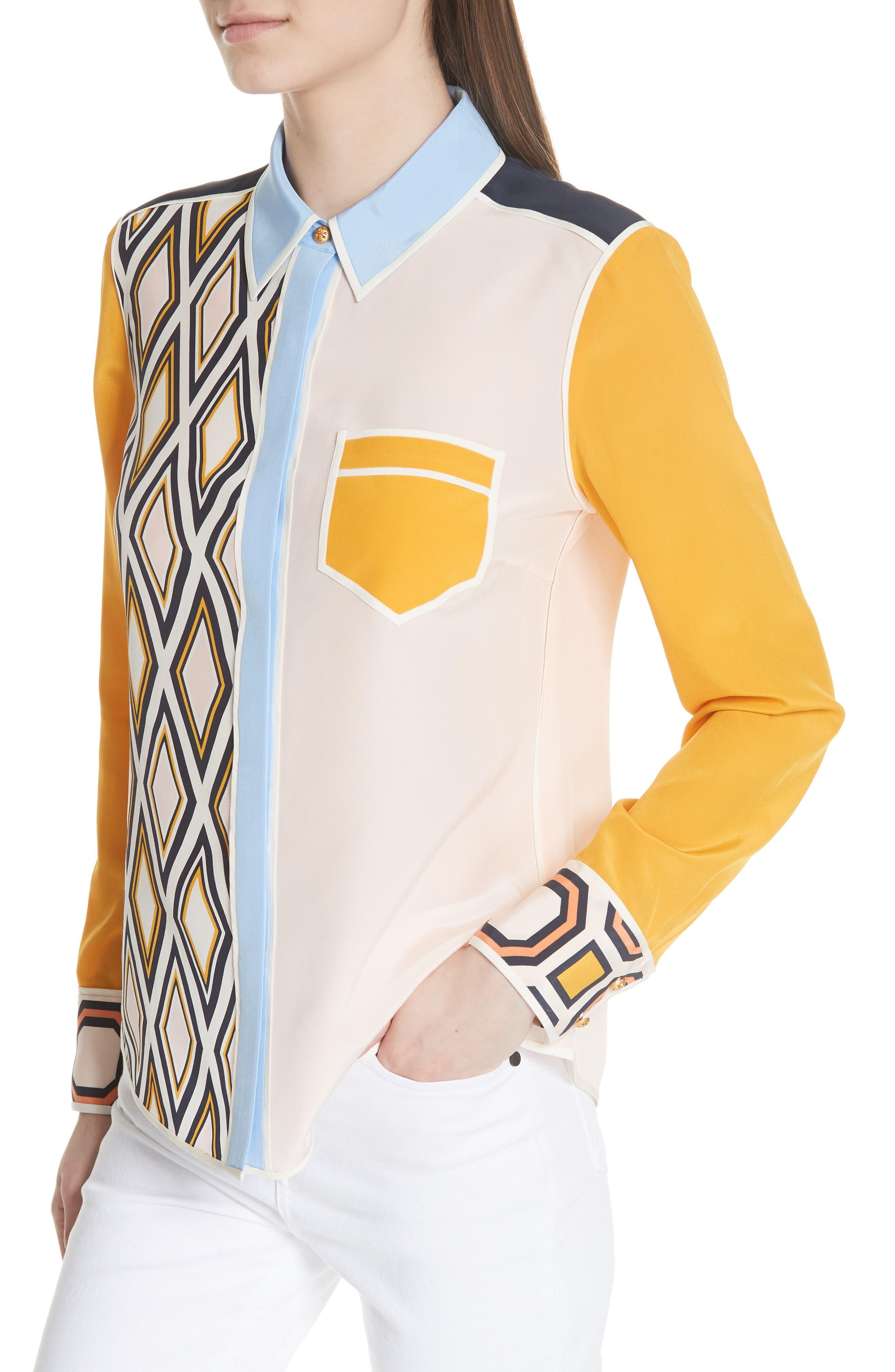 Jackie Silk Shirt,                             Alternate thumbnail 7, color,