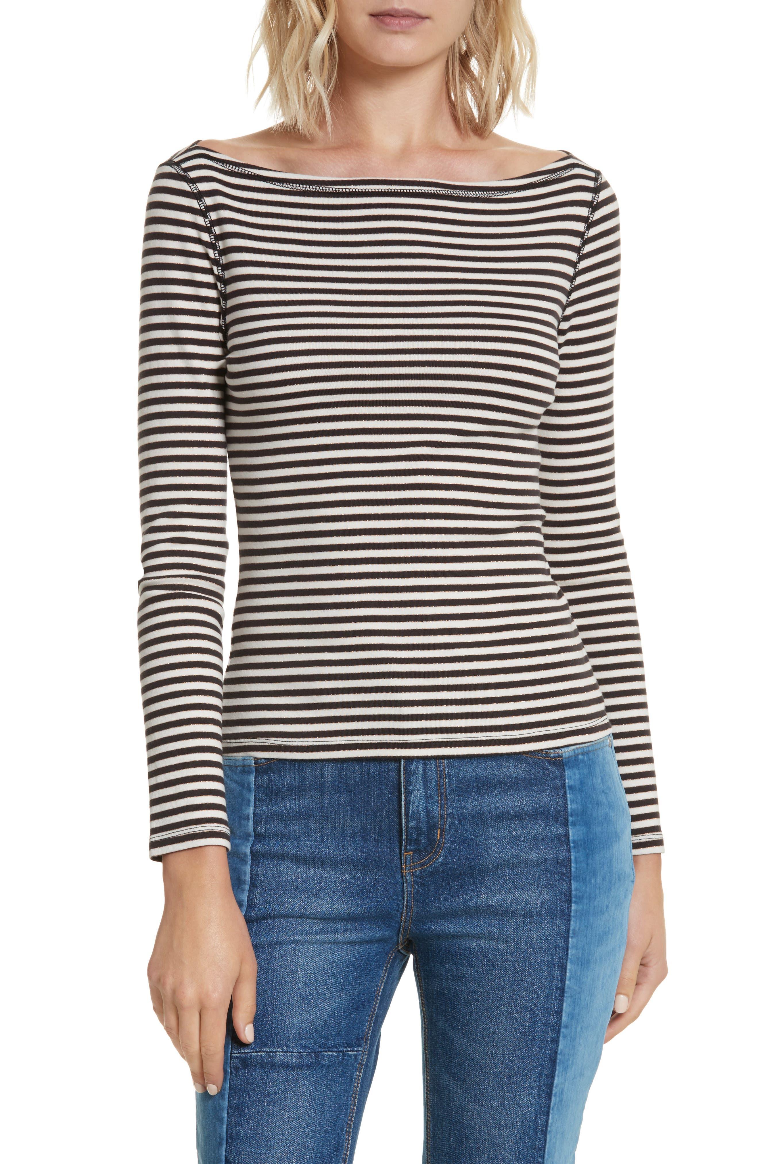 Stripe Metallic Jersey Top,                         Main,                         color, 497