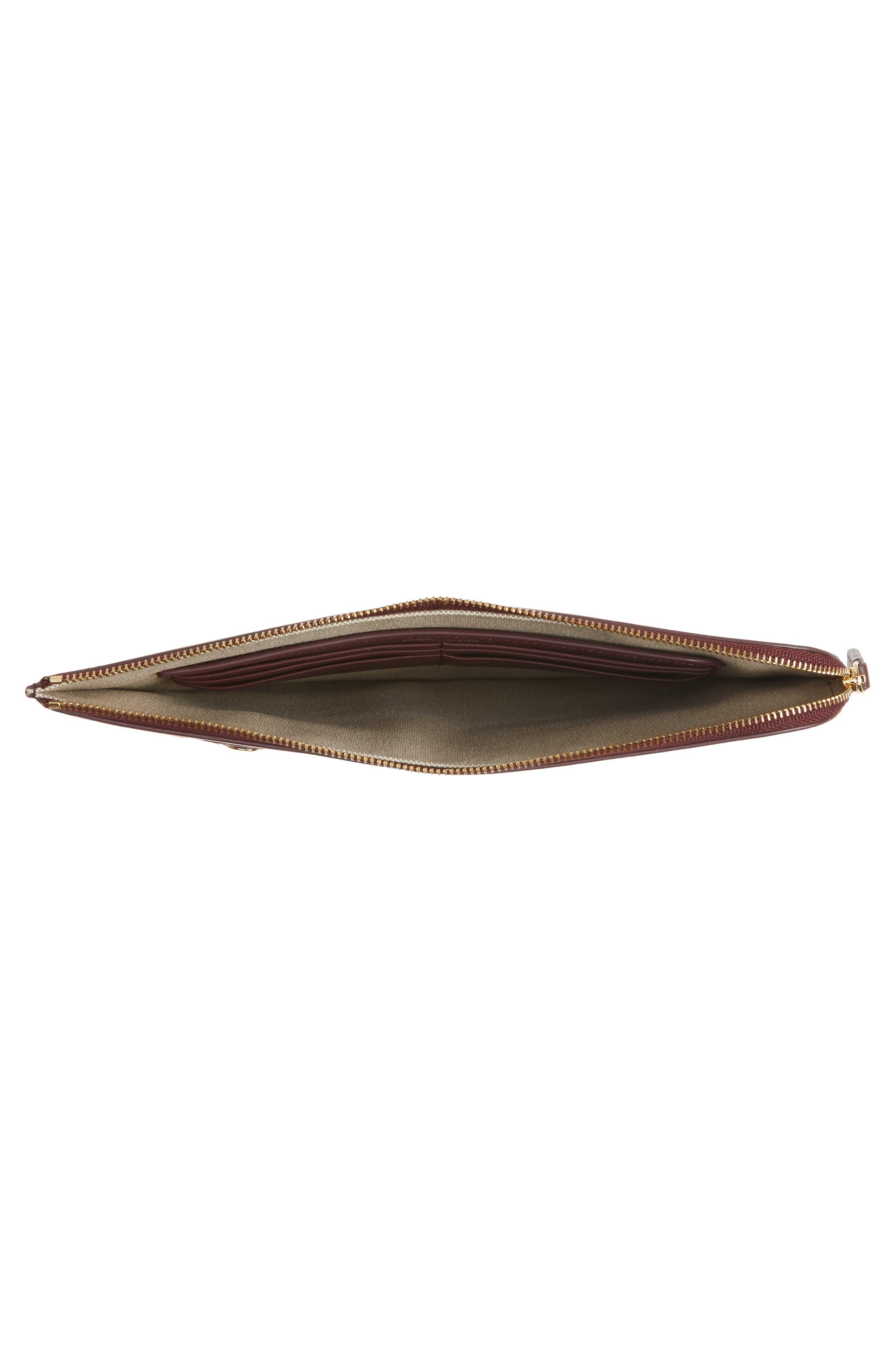 Large Colorblock Leather Zip Pouch,                             Alternate thumbnail 8, color,