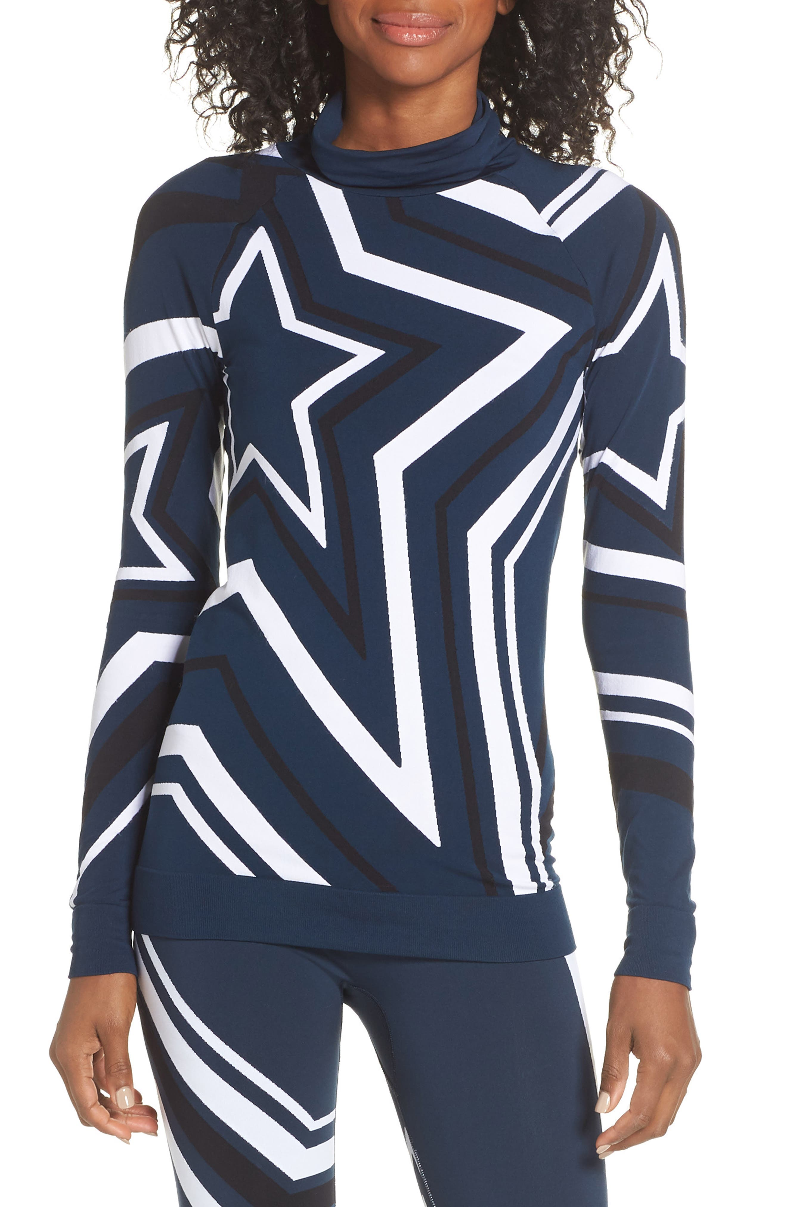 Festive Star Seamless Base Layer Top,                             Main thumbnail 1, color,                             BEETLE BLUE STAR JACQUARD