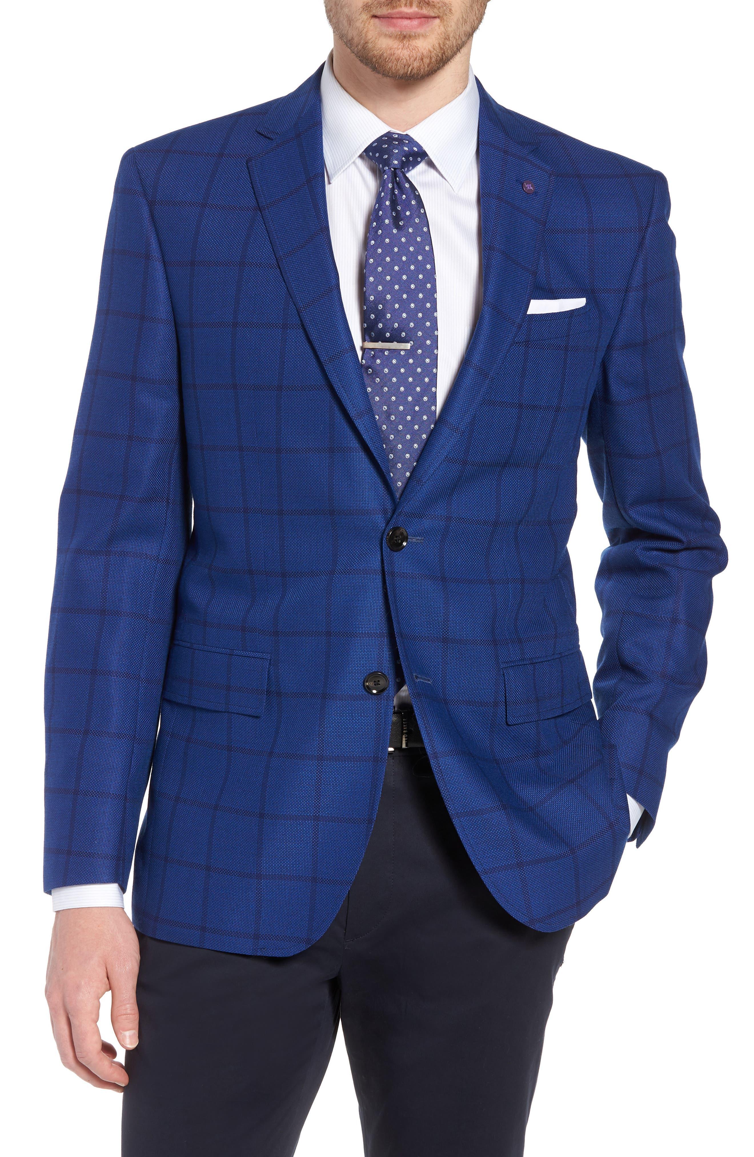 Jay Trim Fit Windowpane Wool Sport Coat,                         Main,                         color,