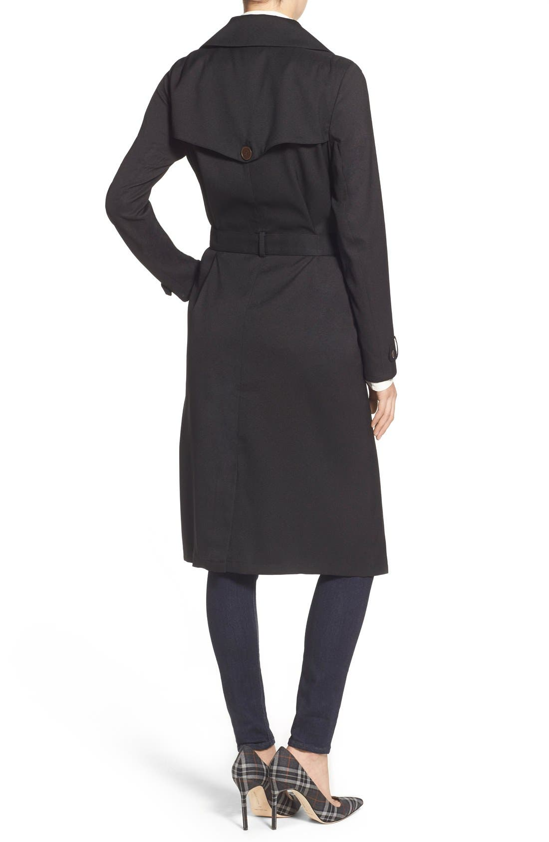Belted Crepe Trench Coat,                             Alternate thumbnail 2, color,                             001