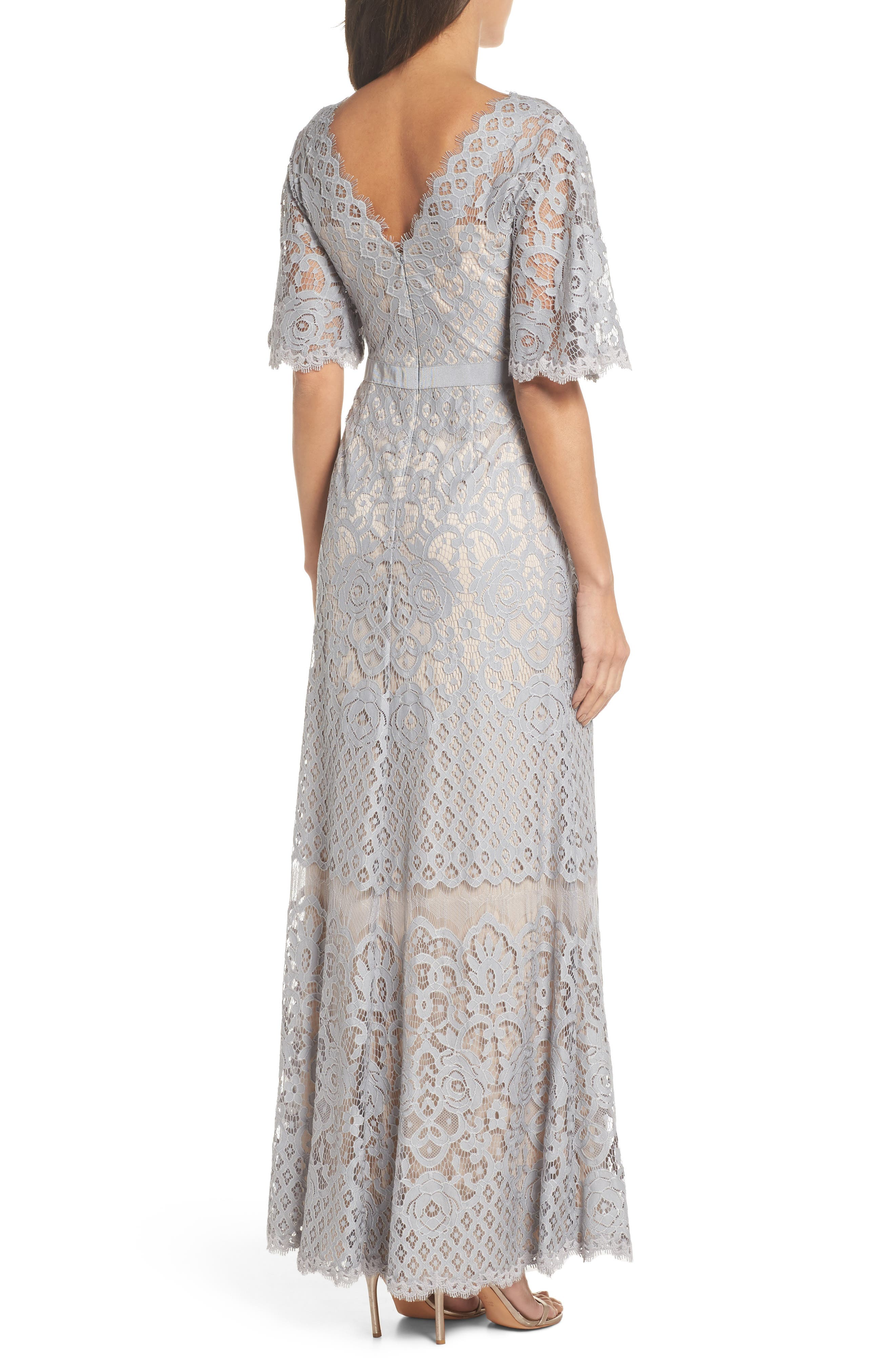 Malina Flutter Sleeve Lace Gown,                             Alternate thumbnail 2, color,                             020