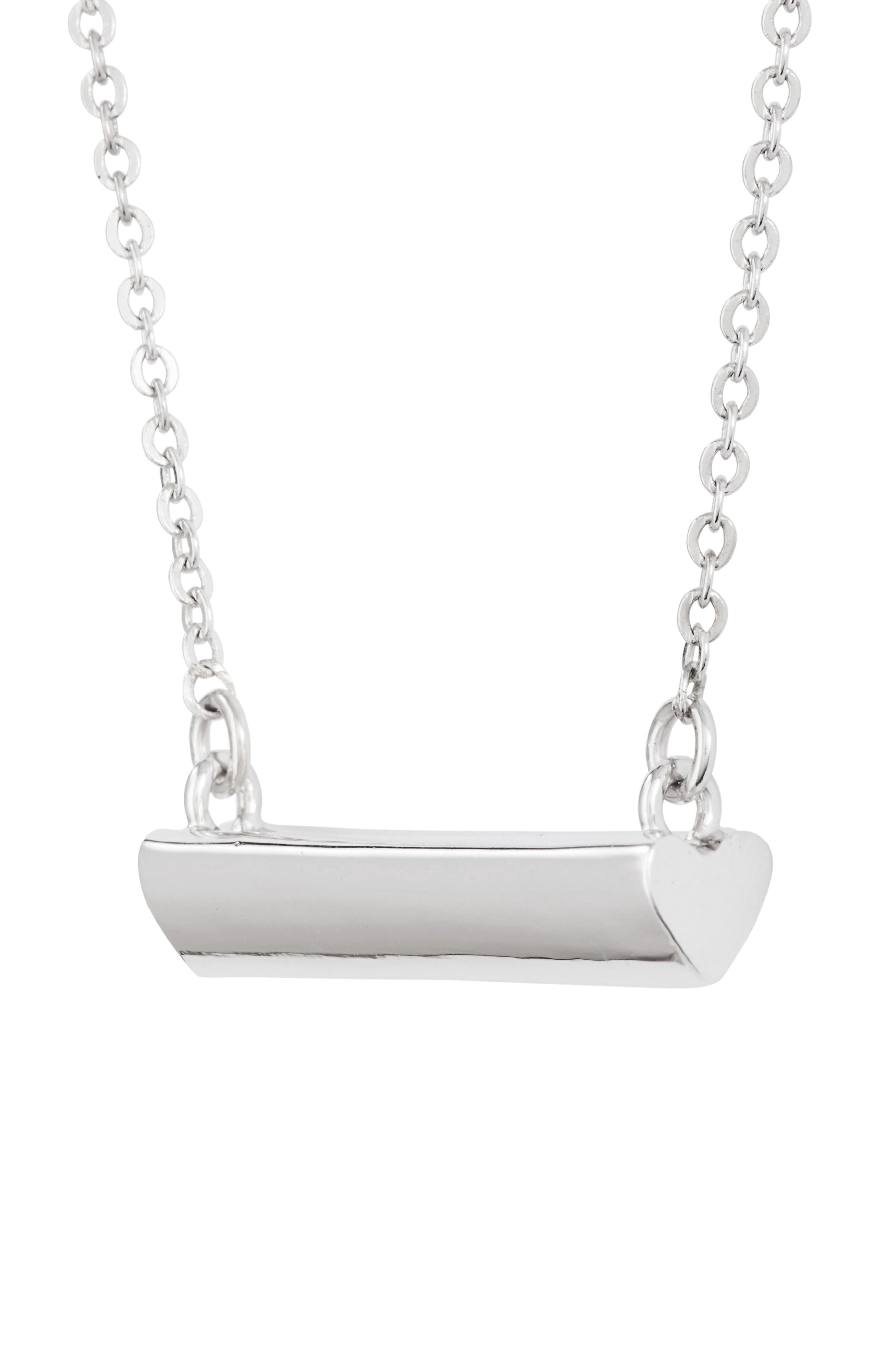 Heart Shaped Bar Pendant Necklace,                             Alternate thumbnail 3, color,                             SILVER