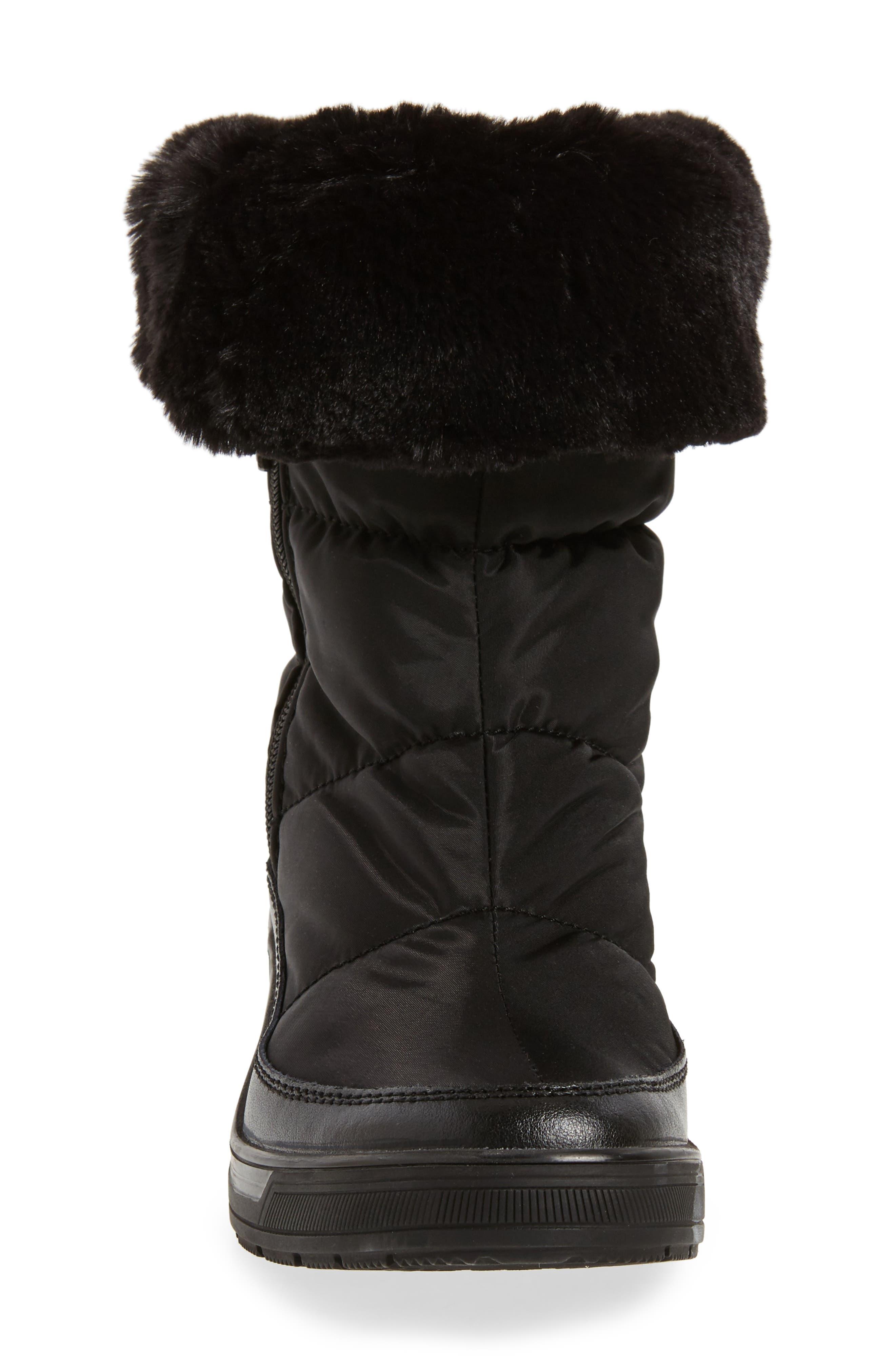 Ventura Weatherproof Faux Fur Lined Boot,                             Alternate thumbnail 4, color,                             001