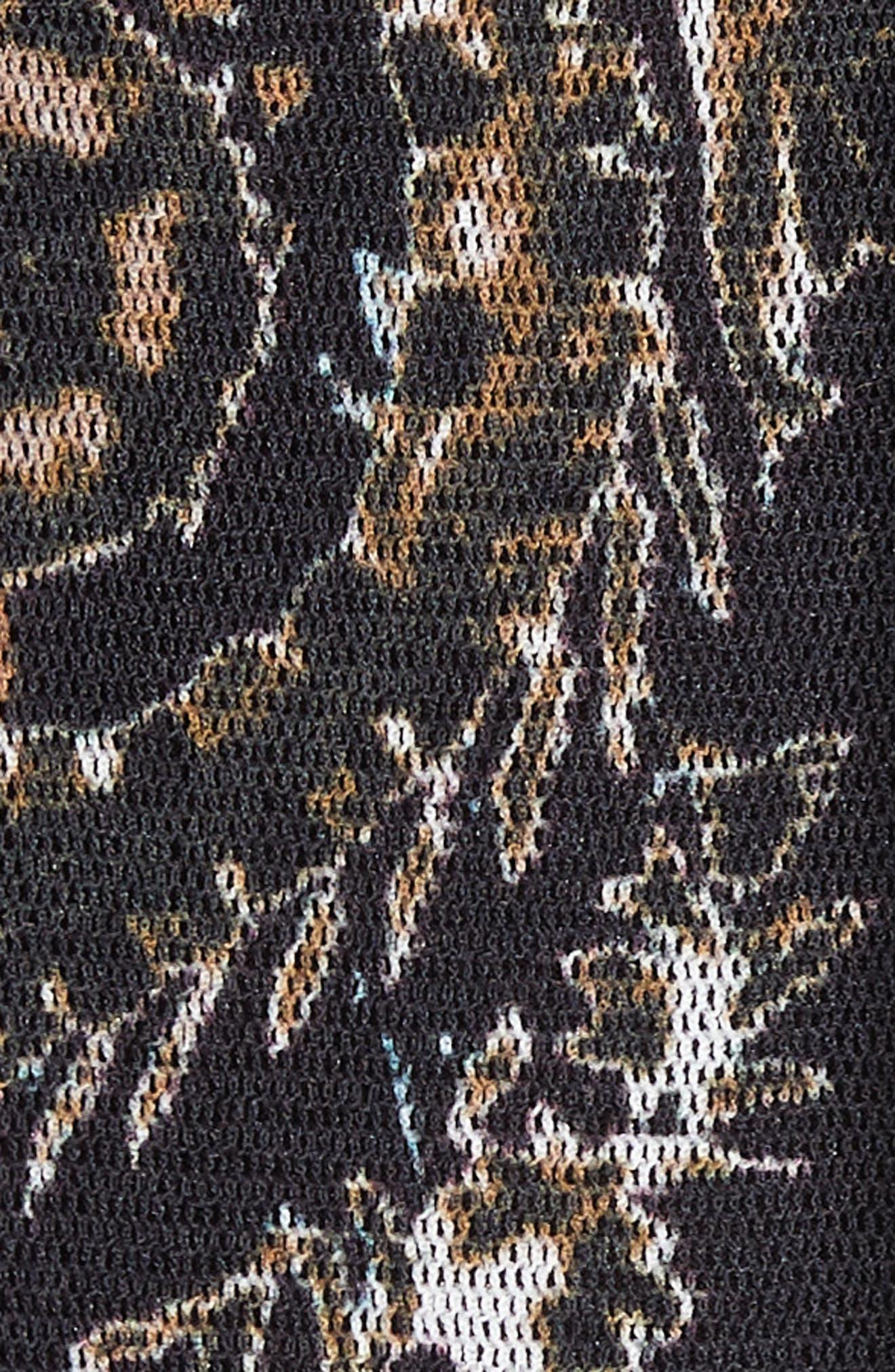 Paisley Tulle Midi Skirt,                             Alternate thumbnail 5, color,                             NERO