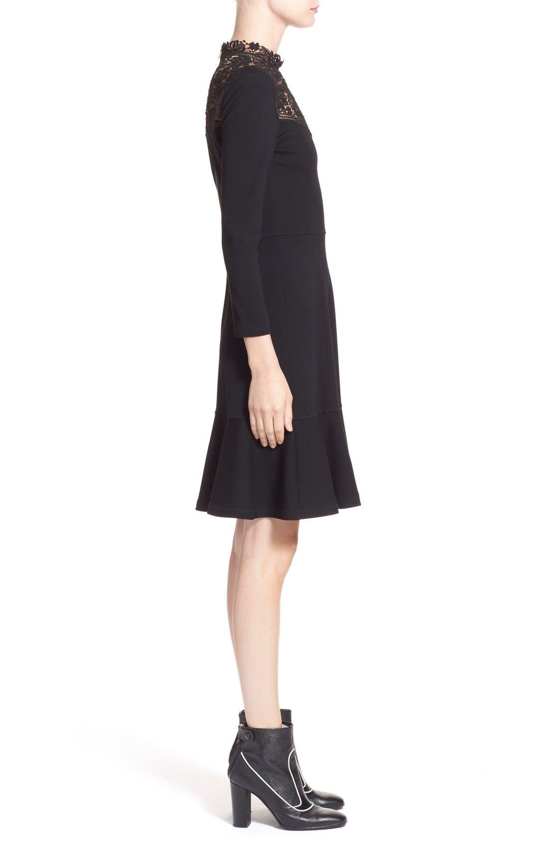 'Rieko' Lace Inset Jersey Dress,                             Alternate thumbnail 4, color,                             001