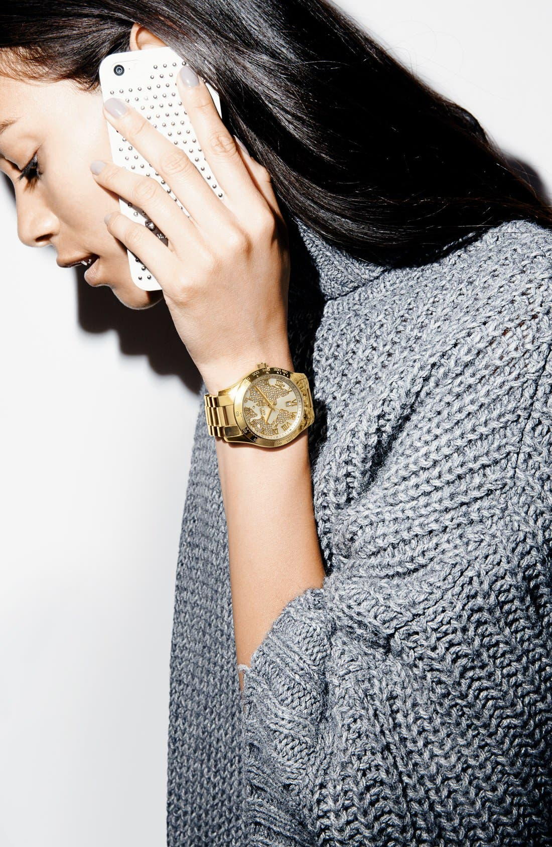 Michael Kors 'Layton' Pavé Dial Bracelet Watch, 44mm,                             Alternate thumbnail 5, color,                             040