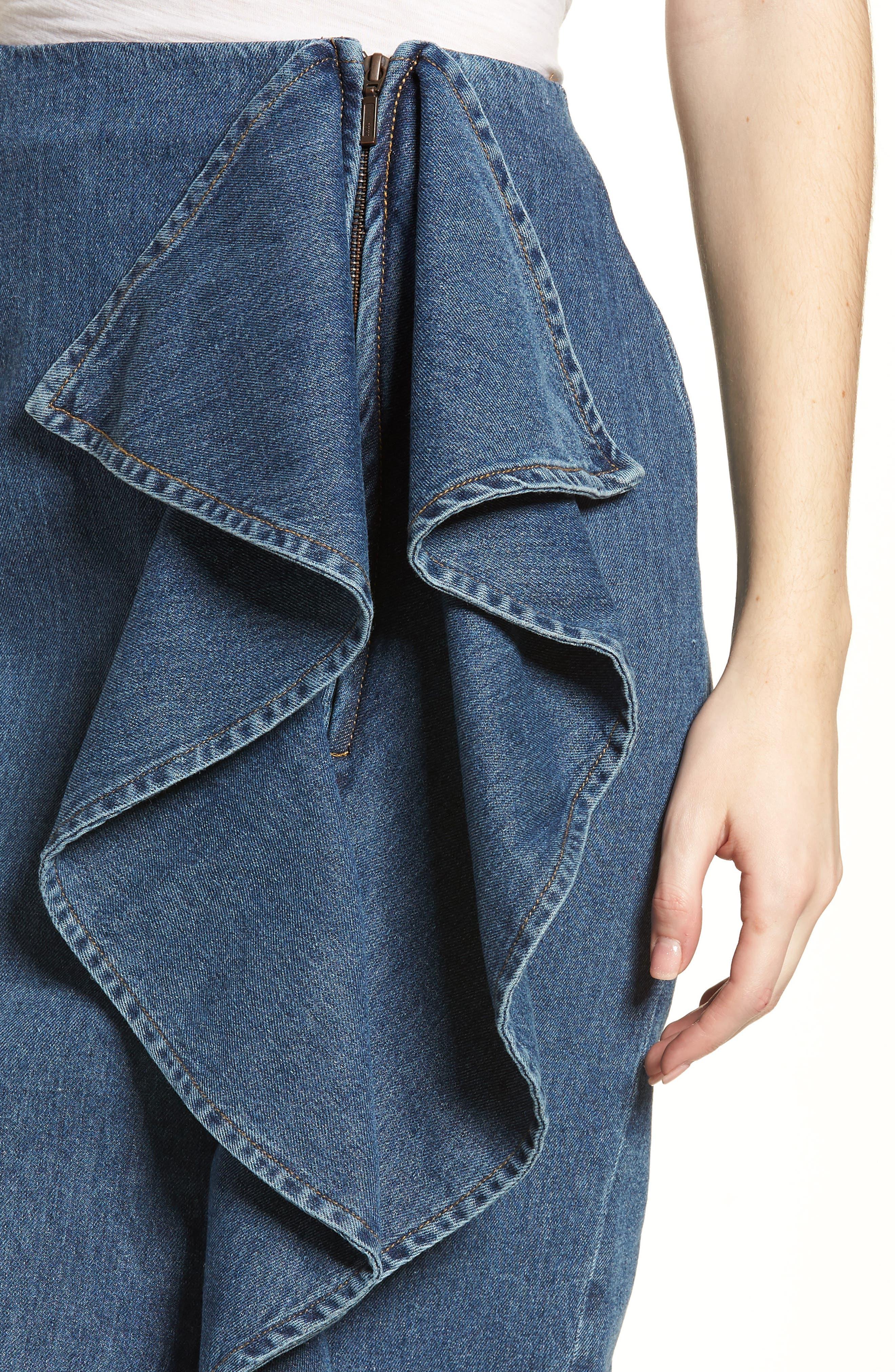 Side Ruffle Denim Pencil Skirt,                             Alternate thumbnail 4, color,                             400