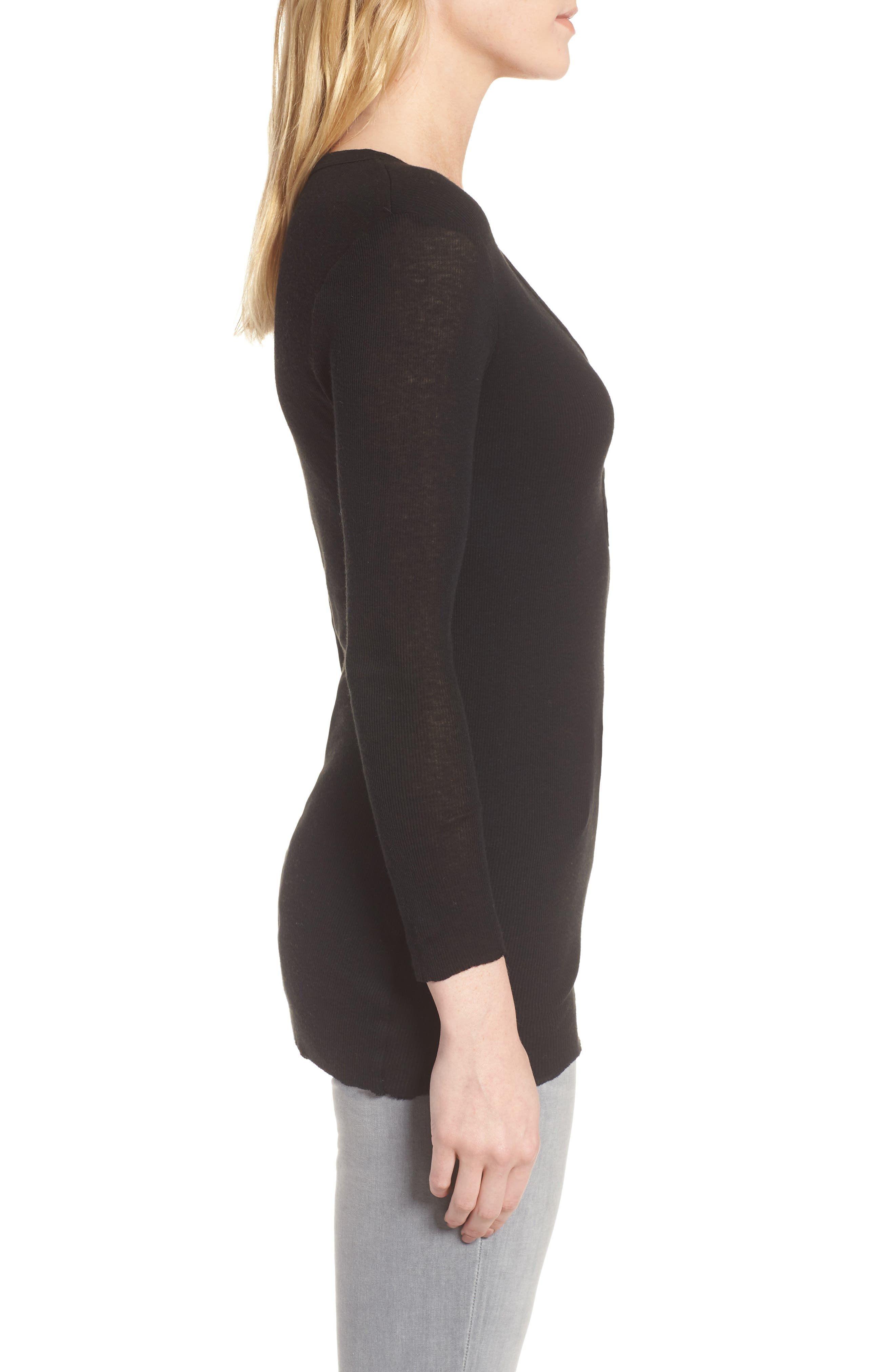 Ribbed Cotton & Cashmere Henley,                             Alternate thumbnail 6, color,