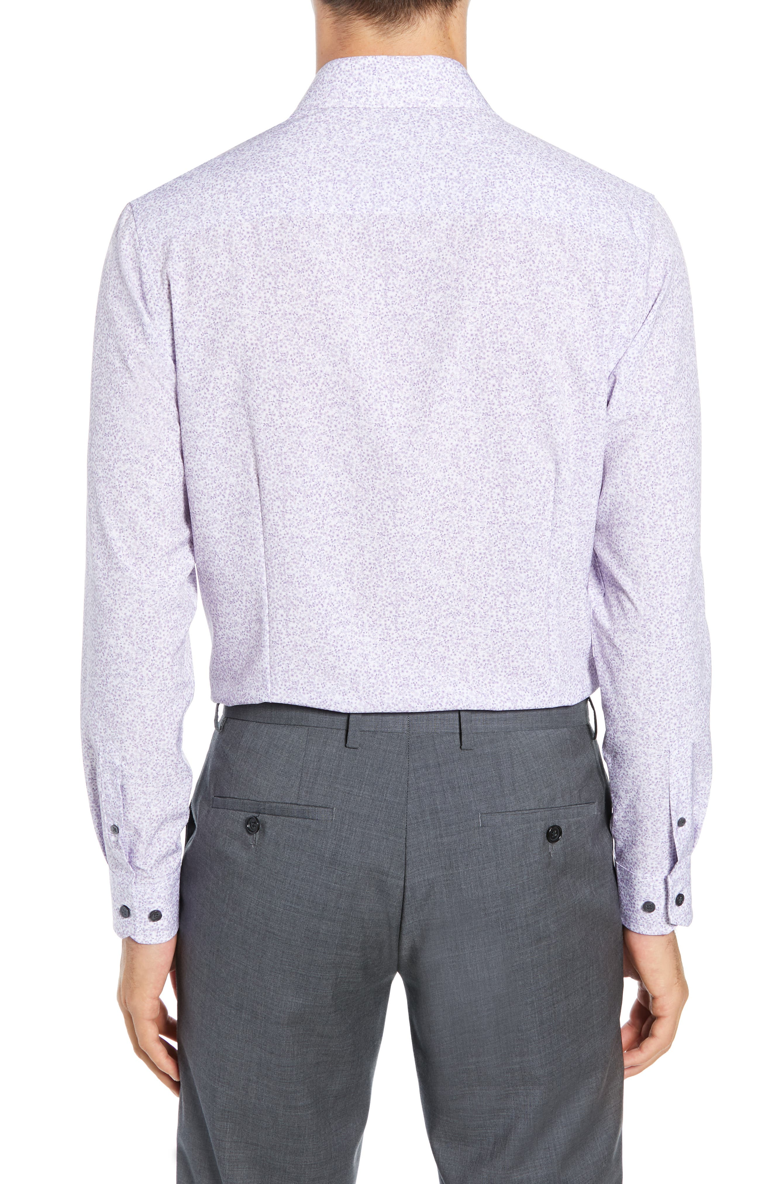 Trim Fit Stretch Floral Dress Shirt,                             Alternate thumbnail 3, color,                             LILAC