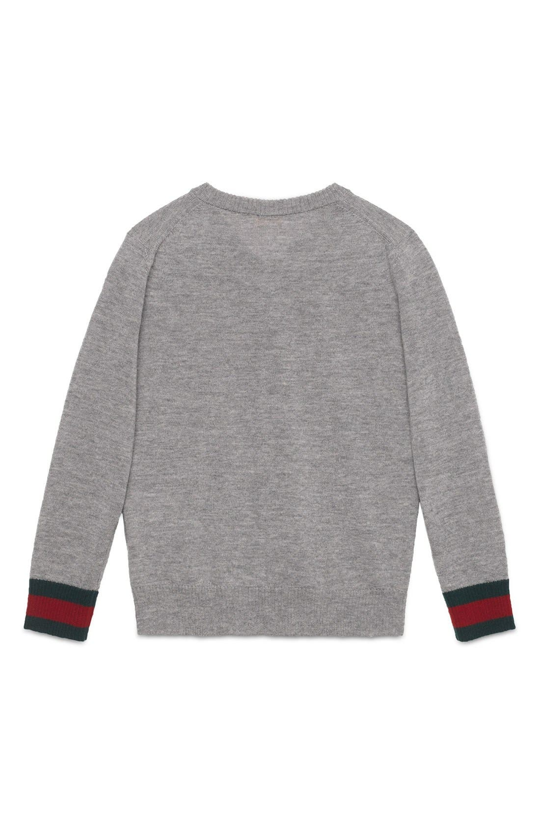 Stripe Cuff V-Neck Merino Wool Sweater,                             Alternate thumbnail 4, color,                             GREY MULTI