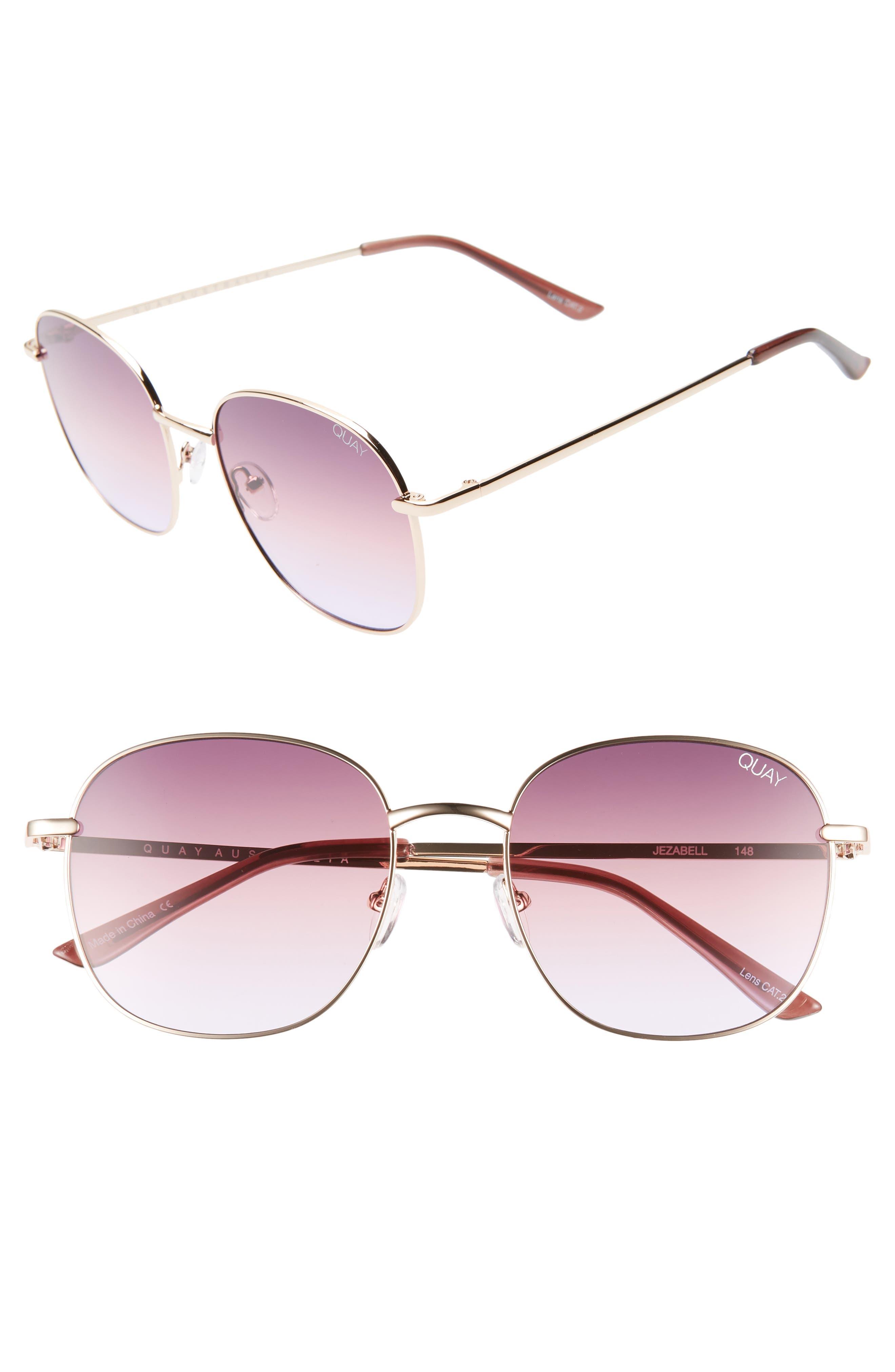 Quay Australia Jezabell 57Mm Round Sunglasses - Rose / Purple Pink Fade
