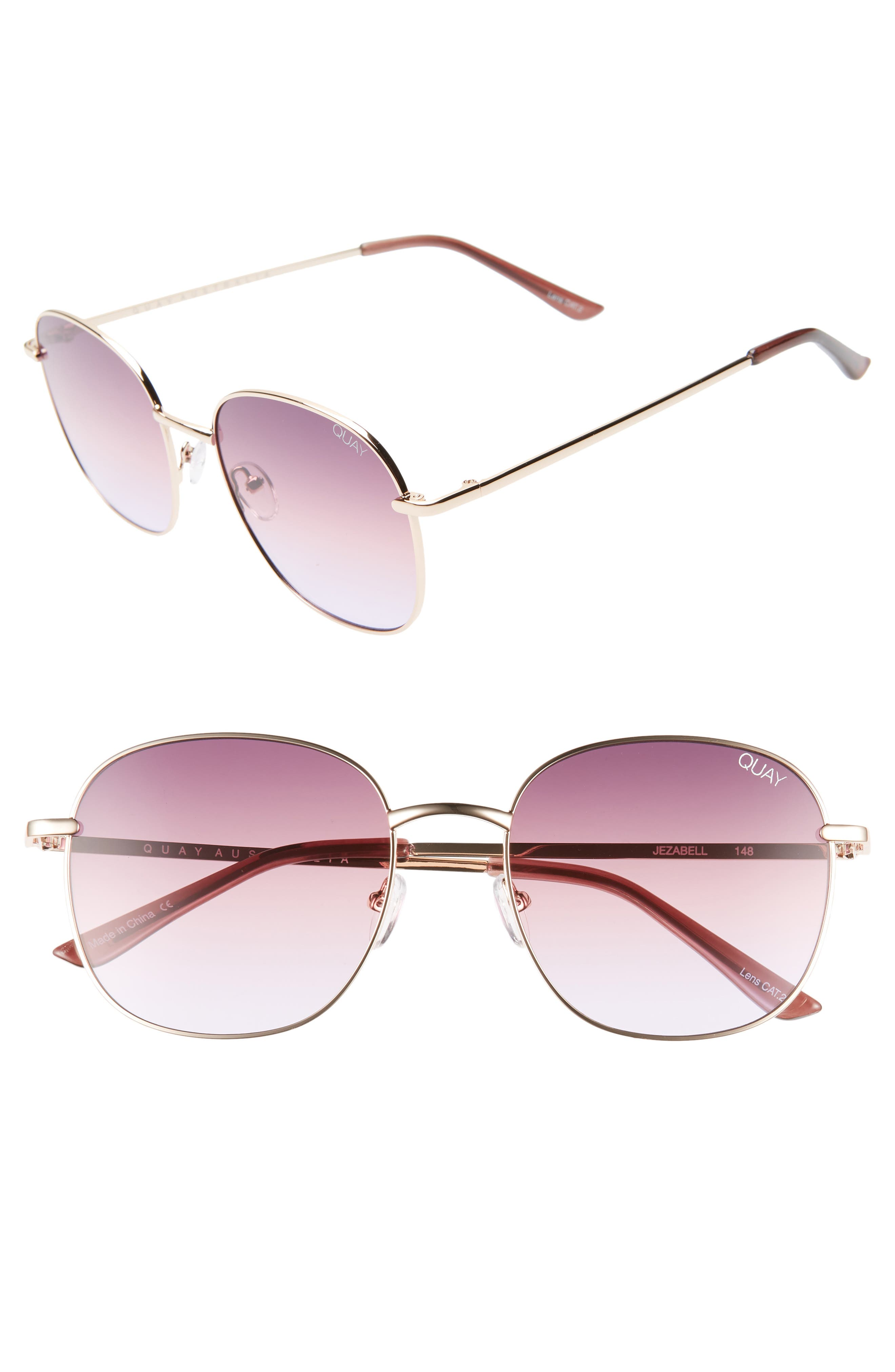 Jezabell 57mm Round Sunglasses,                         Main,                         color, ROSE / PURPLE PINK FADE