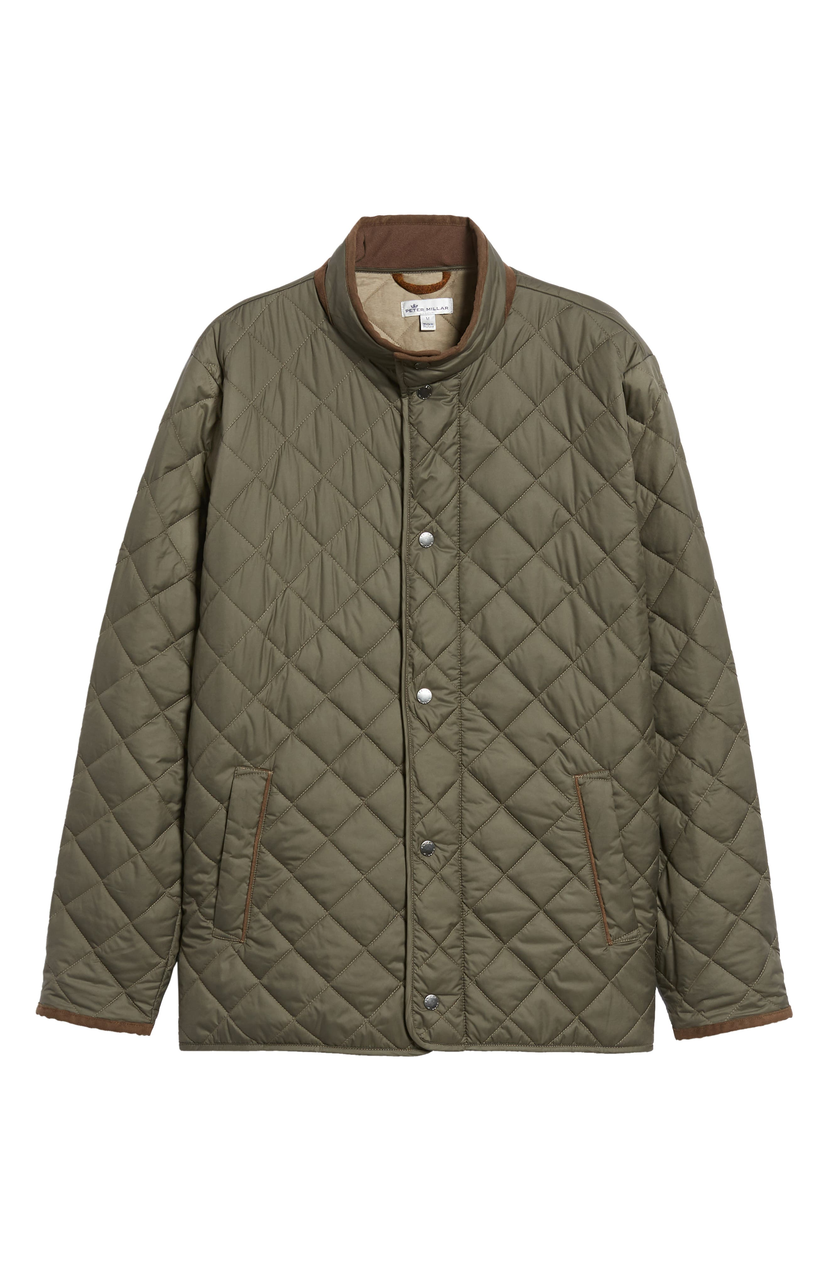 Suffolk Quilted Water-Resistant Car Coat,                             Alternate thumbnail 5, color,                             OLIVE