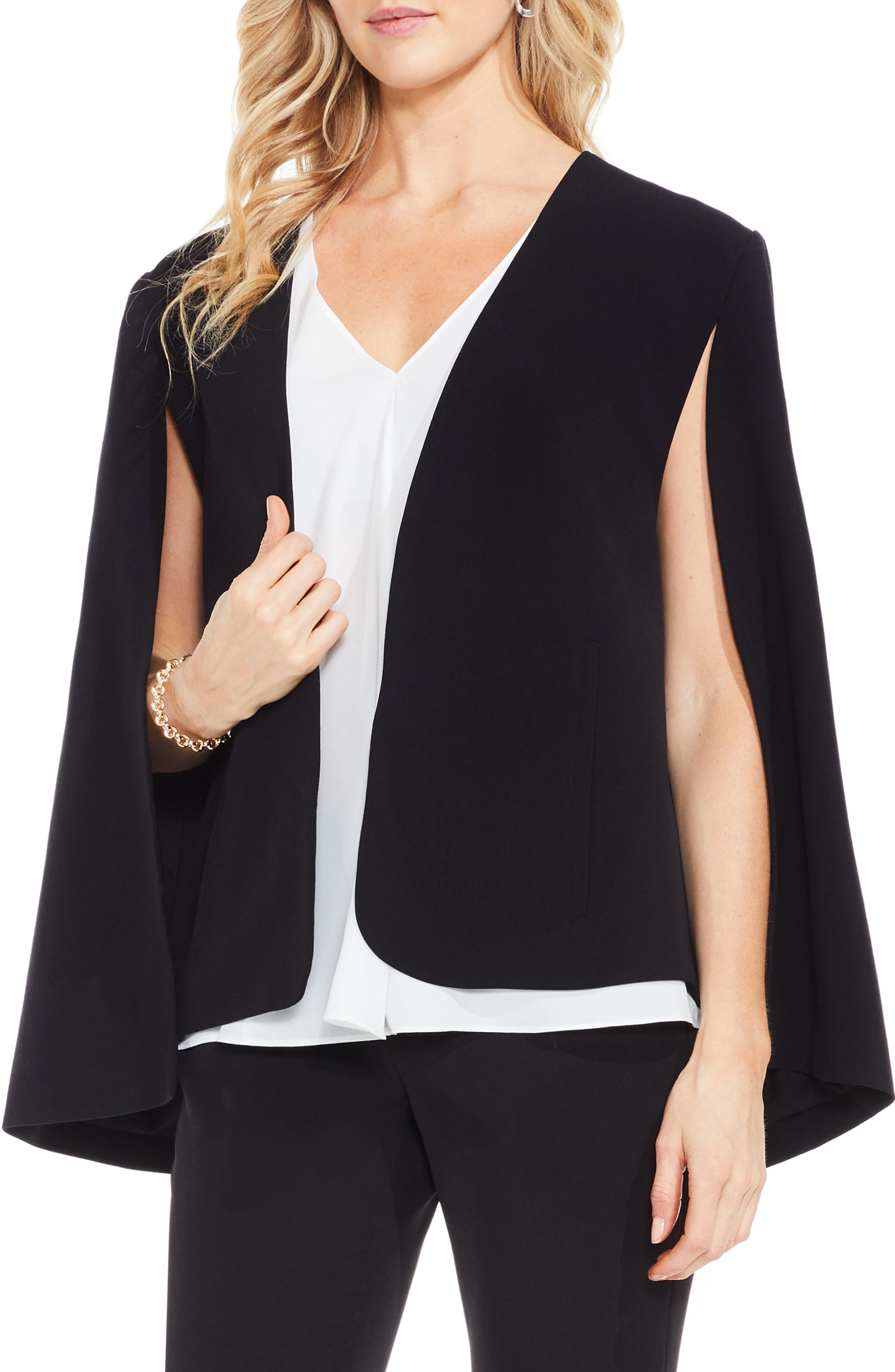 Milano Twill Cape Jacket,                         Main,                         color, RICH BLACK