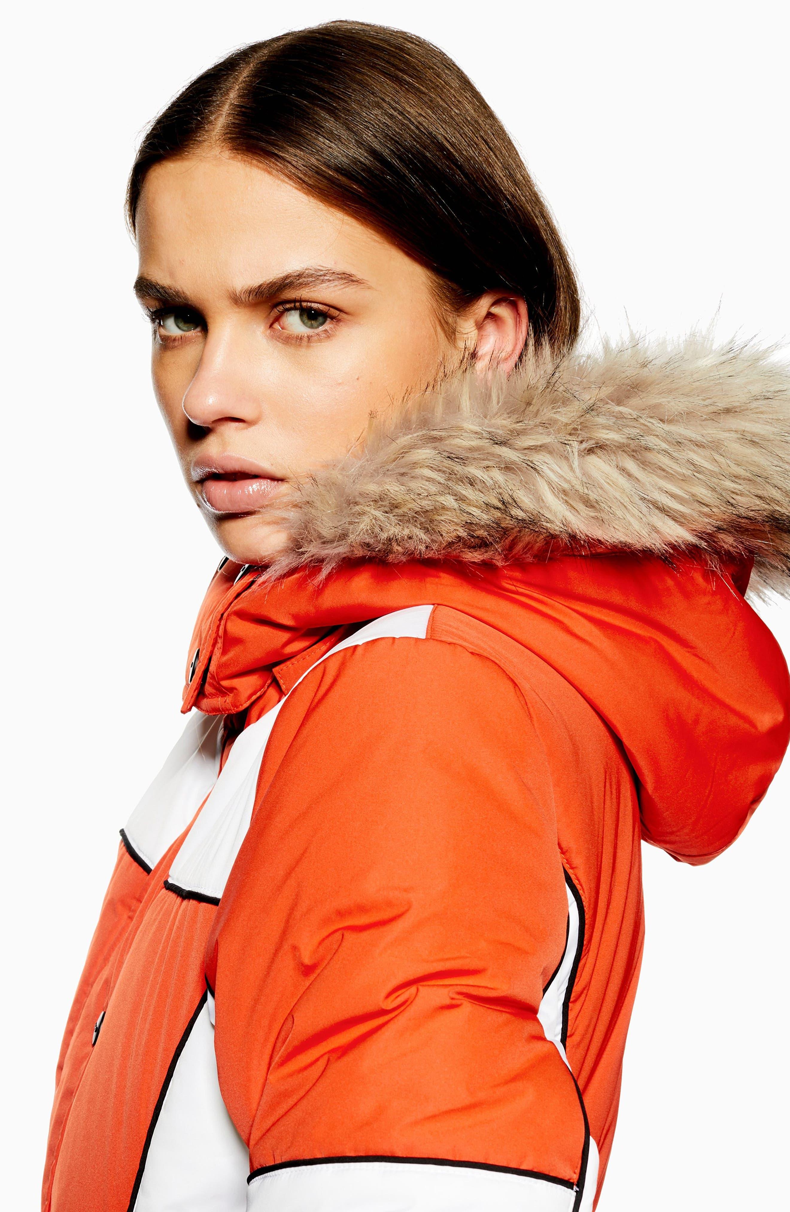 Sno Faux Fur Trim Puffer Jacket,                             Alternate thumbnail 6, color,                             ORANGE MULTI