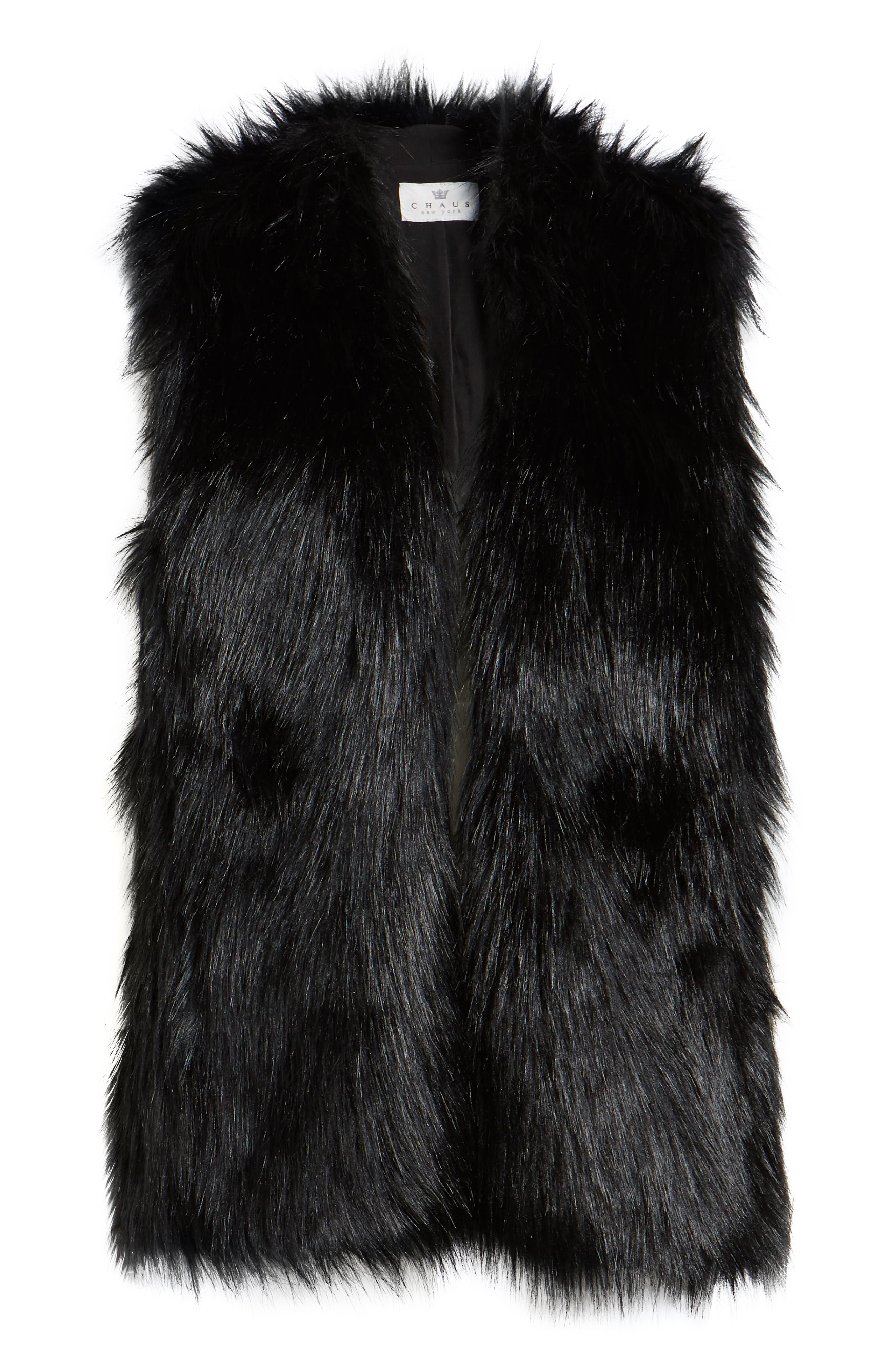 CHAUS,                             Faux Fur Vest,                             Alternate thumbnail 6, color,                             011