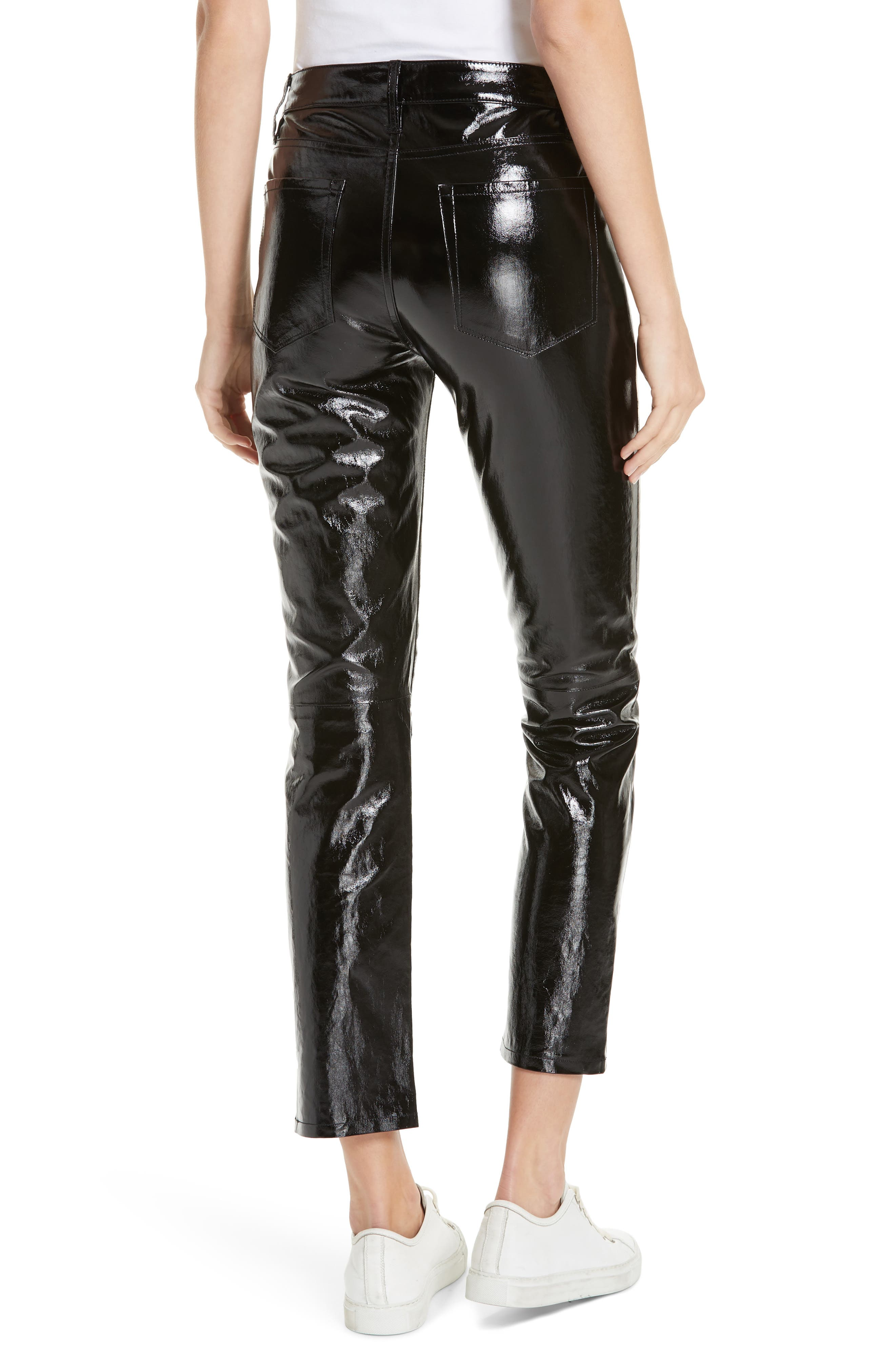 Slick Straight Leg Leather Pants,                             Alternate thumbnail 2, color,                             NOIR