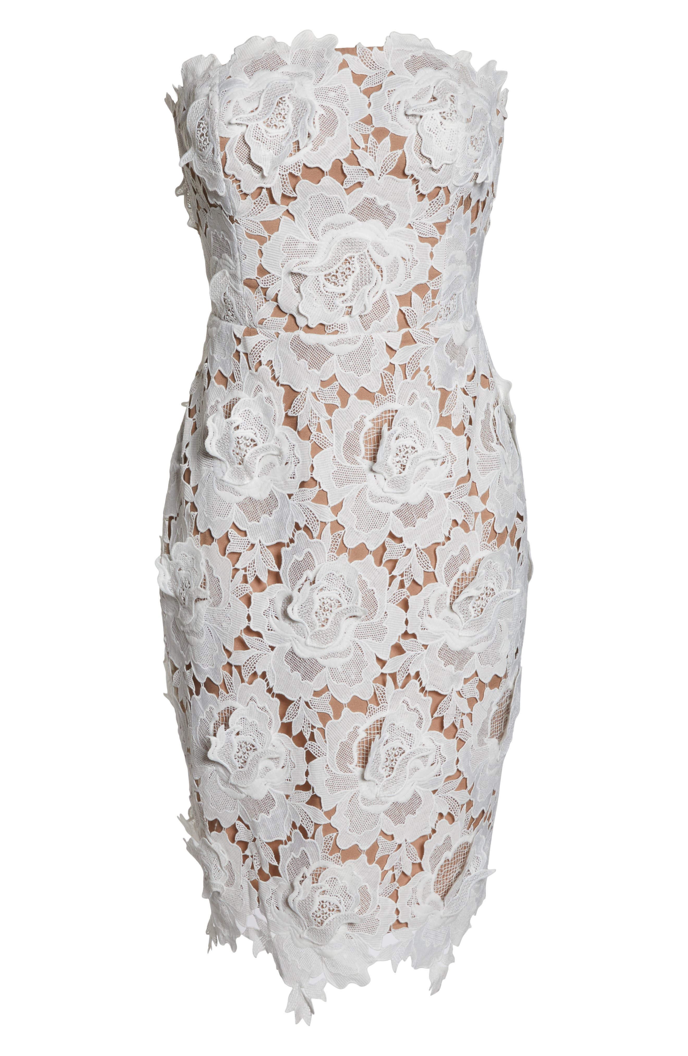Jade Strapless Lace Dress,                             Alternate thumbnail 7, color,                             WHITE-NUDE